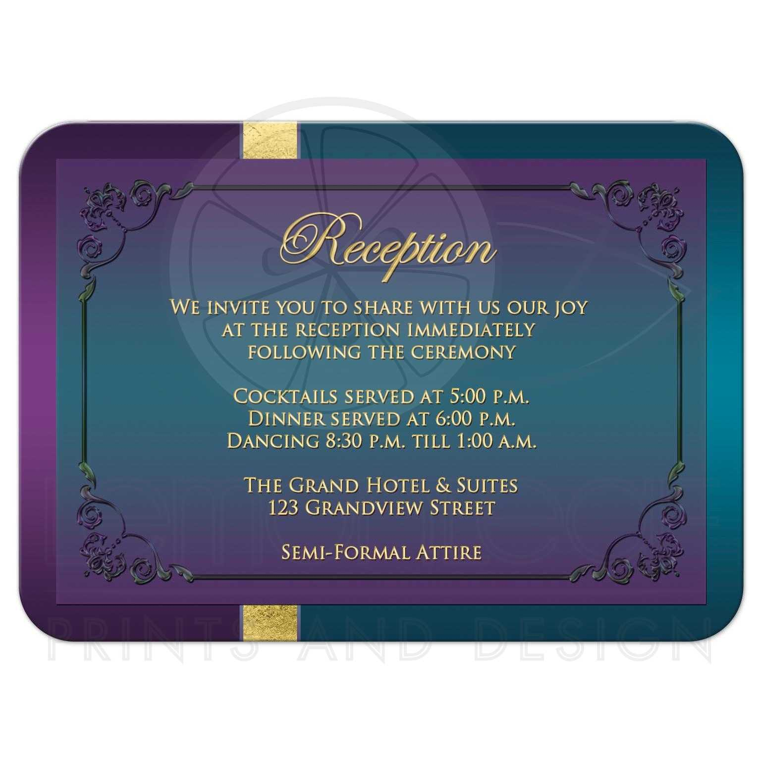 Teal Wedding Ideas For Reception: Wedding Reception Enclosure Card