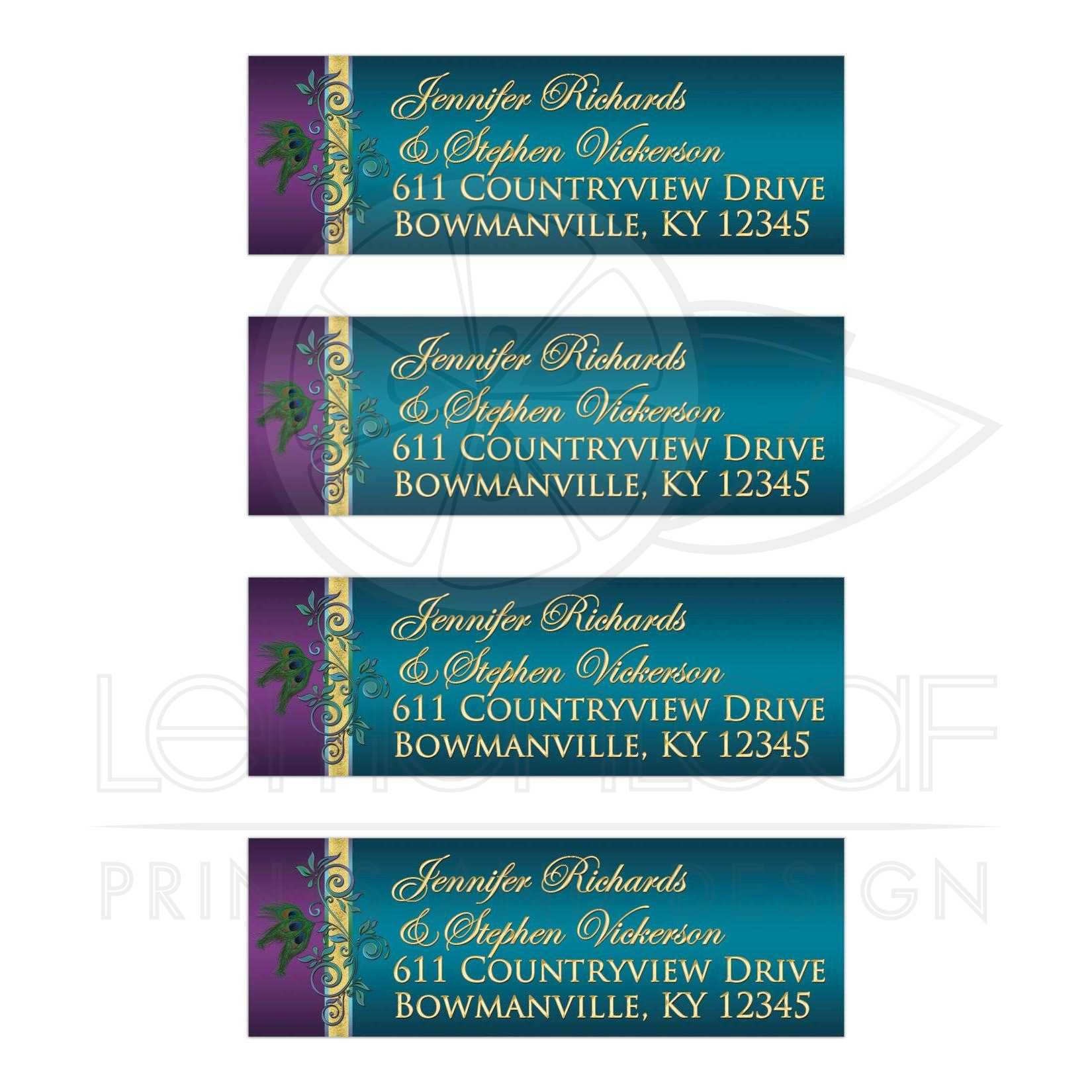 Great Custom Purple Teal Blue And Gold Foil Peacock Feather Wedding Return Address Mailing Labels