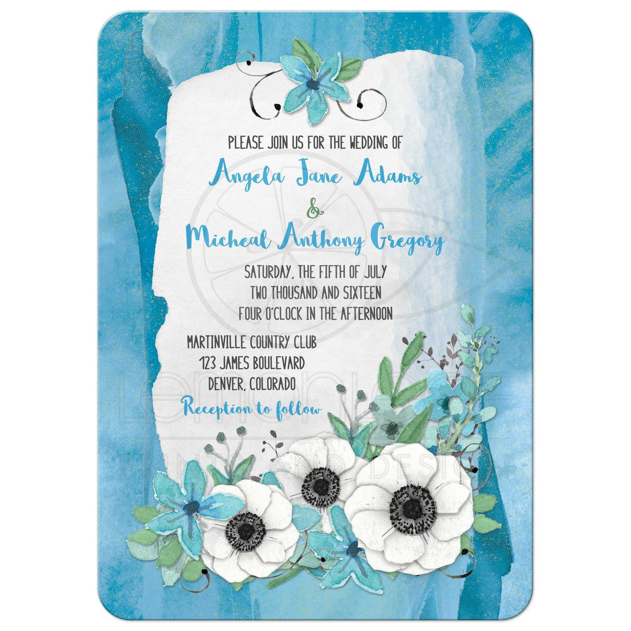 anemone watercolor wedding invitation blue green floral