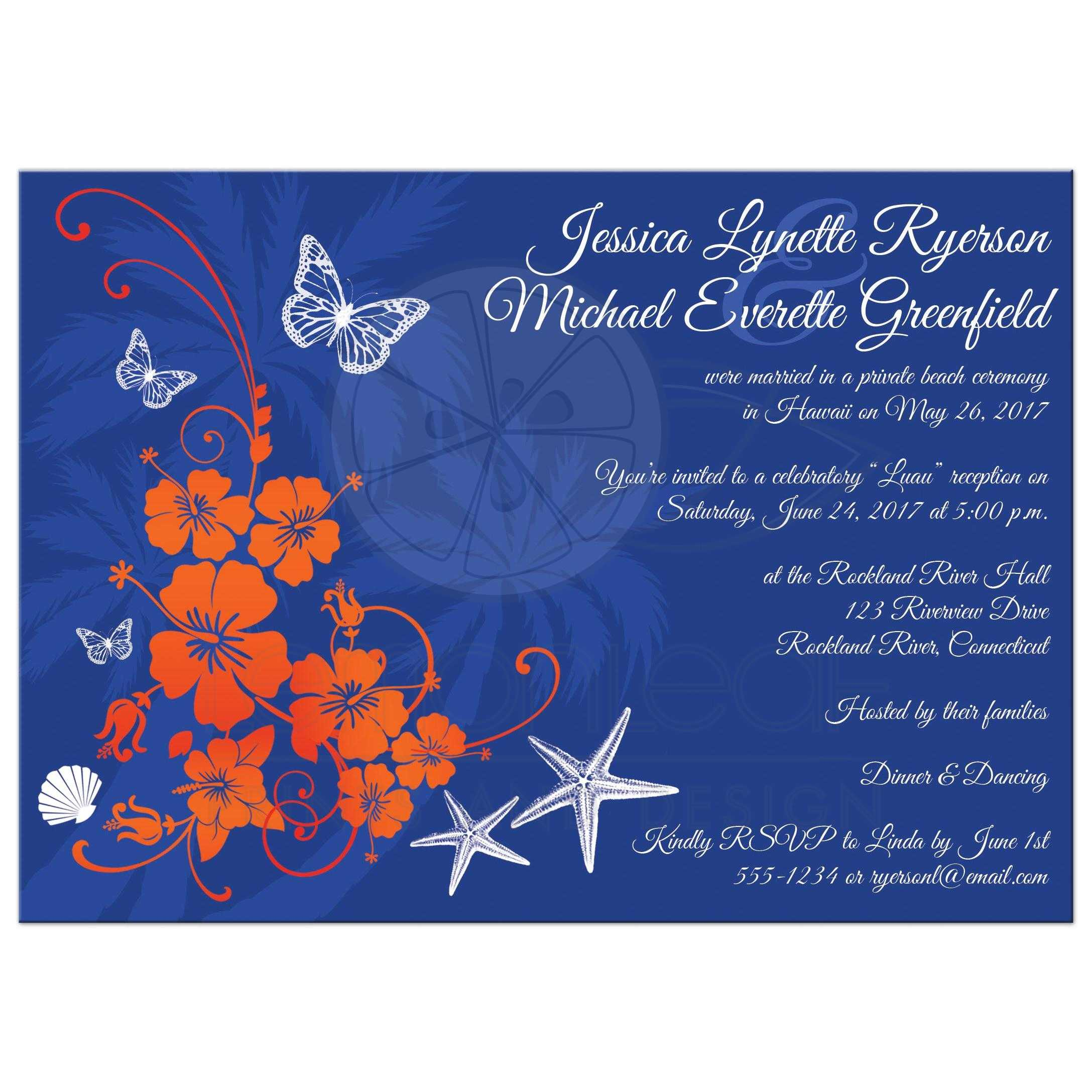 Post Wedding Reception Invitation | Blue, Orange, White Tropical Floral, Butterflies, Sea Shells