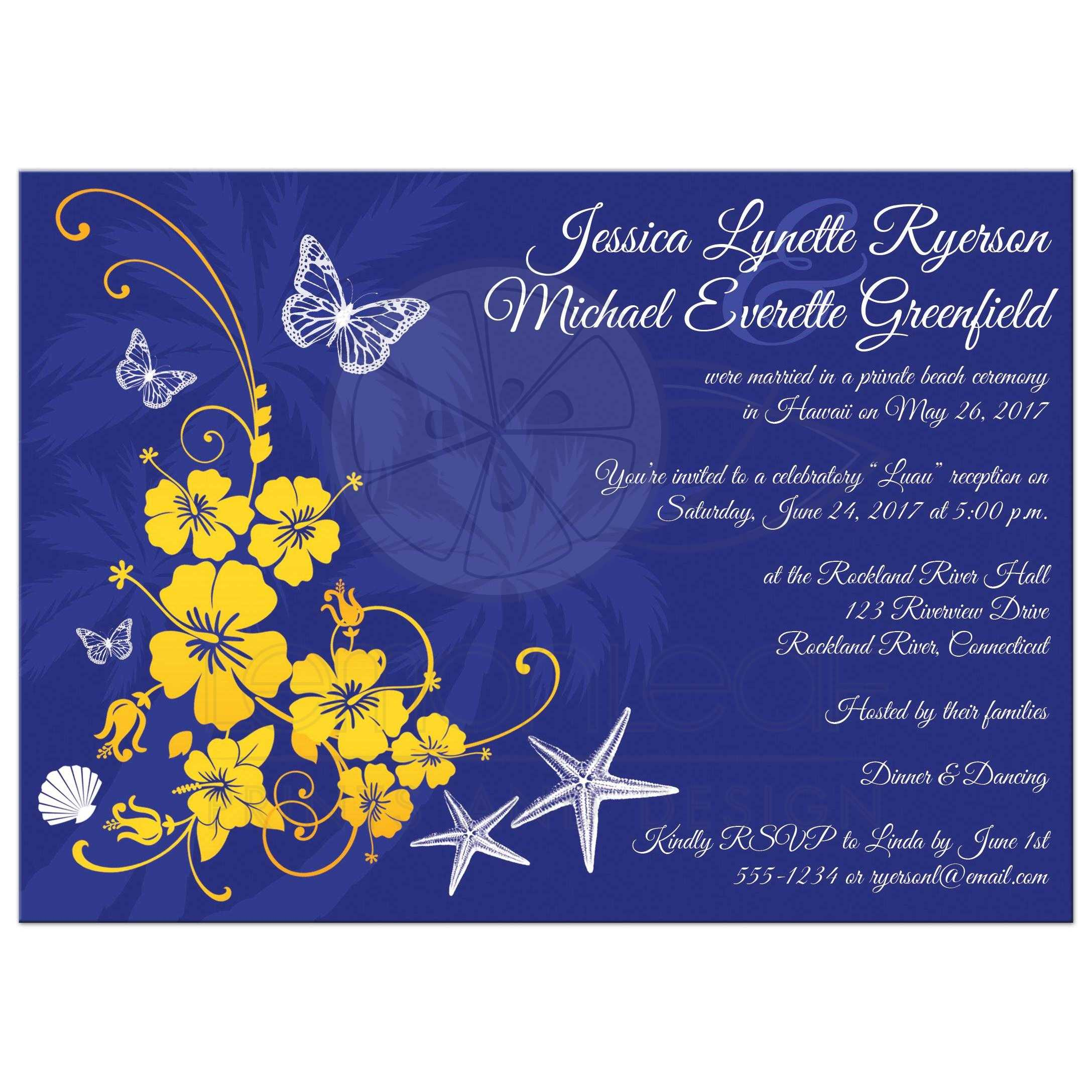 Post Wedding Reception Invitation Blue Yellow White Tropical Floral Butterflies Sea Shells