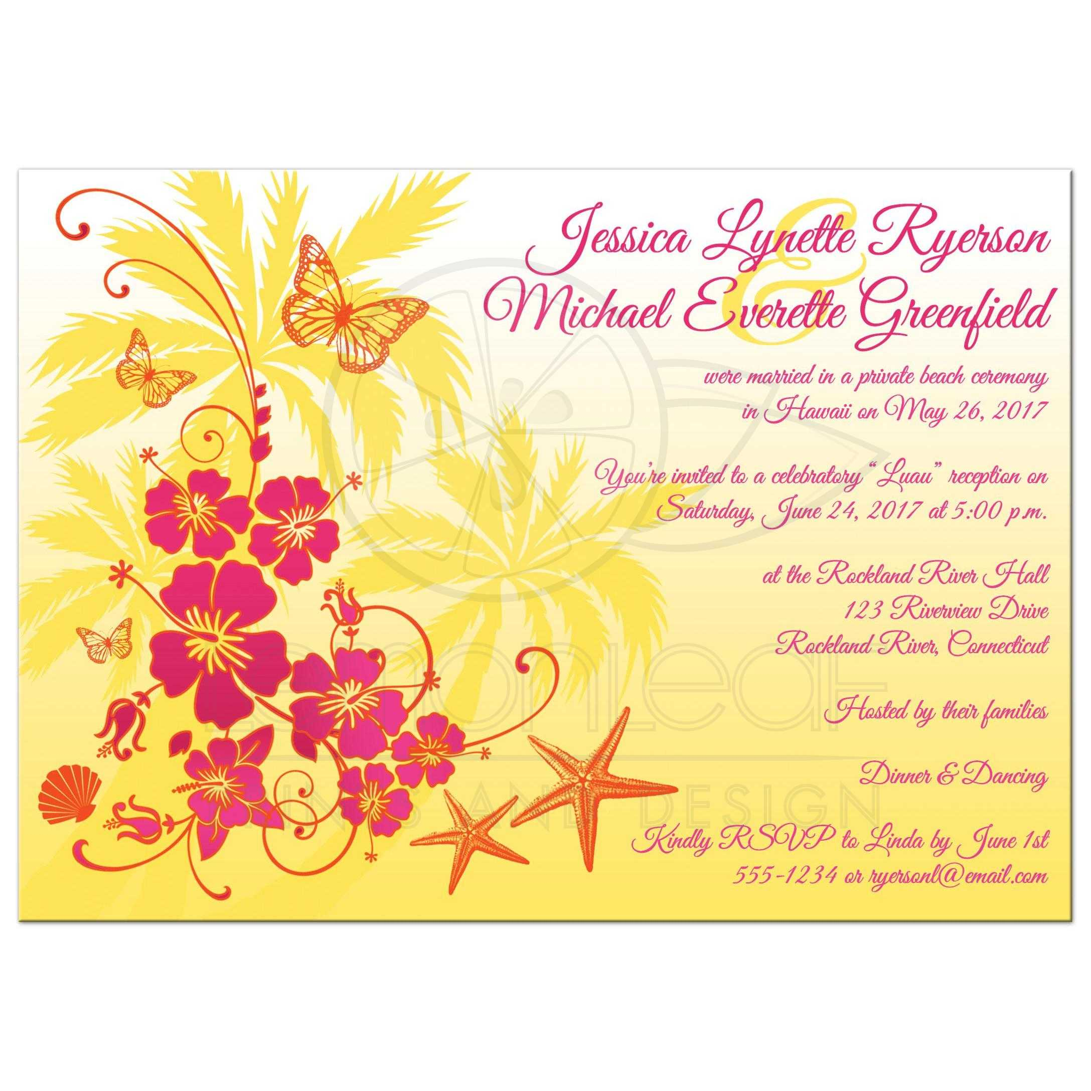 Great Yellow Fuchsia Pink Orange And White Tropical Beach Theme Wedding Invitations With: Hawaiian Beach Theme Wedding Invitation At Websimilar.org