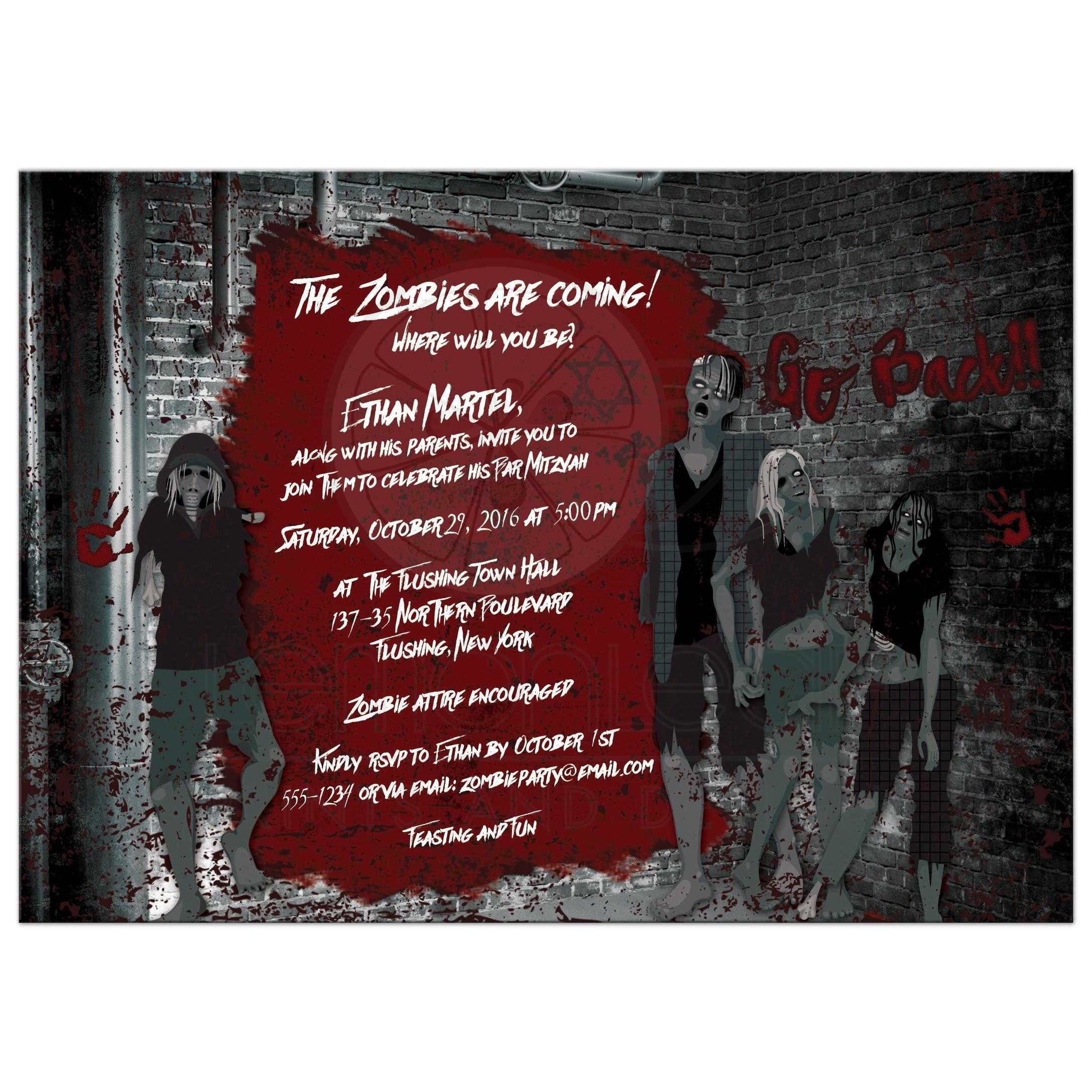 Zombie Outbreak Bar Mitzvah Invitation | Zombies, Urban Grunge ...