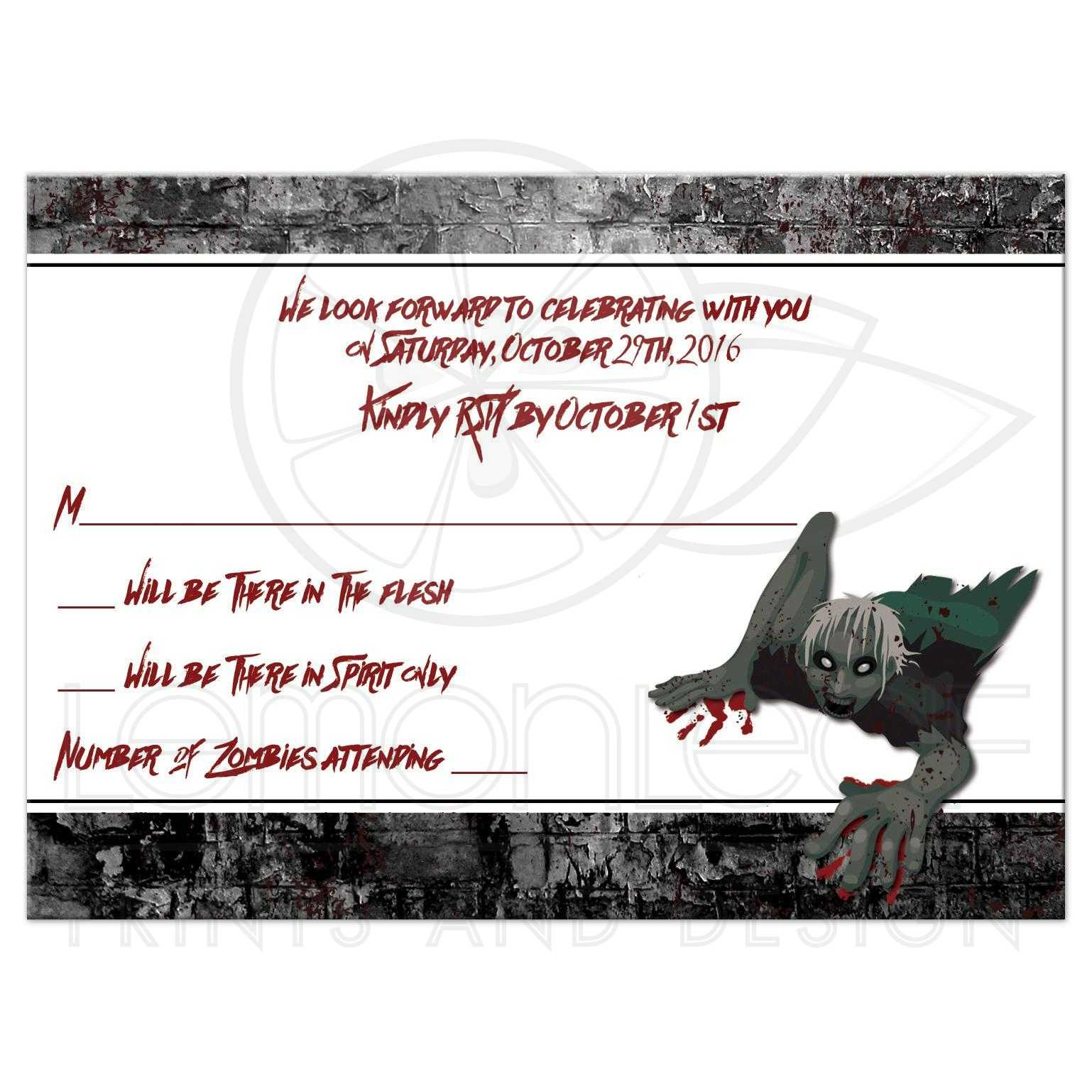 Zombie Outbreak Bar Mitzvah RSVP Card | Zombies, Urban Grunge, Blood ...