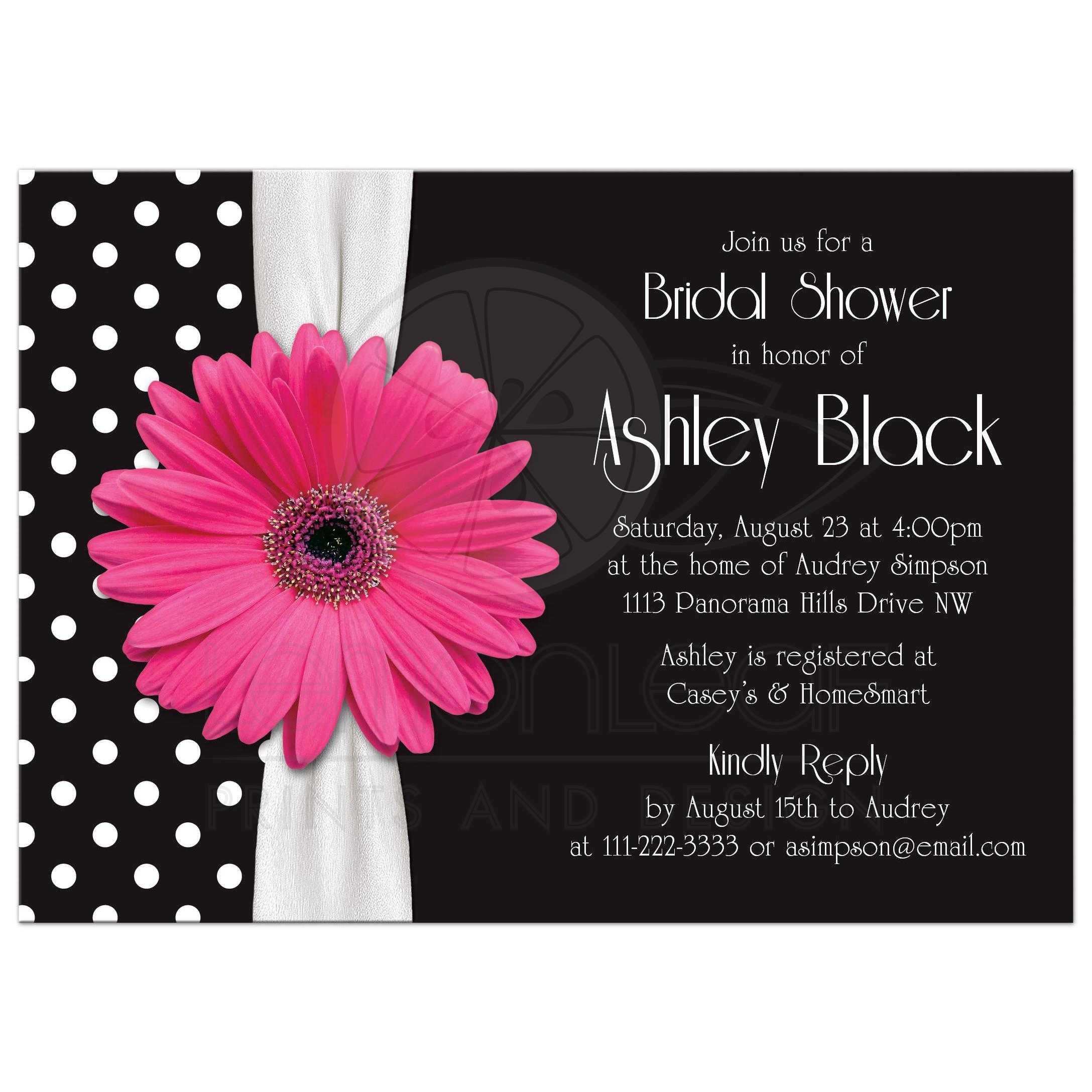 retro and chic black and white polka dot pink gerbera daisy bridal shower invitation