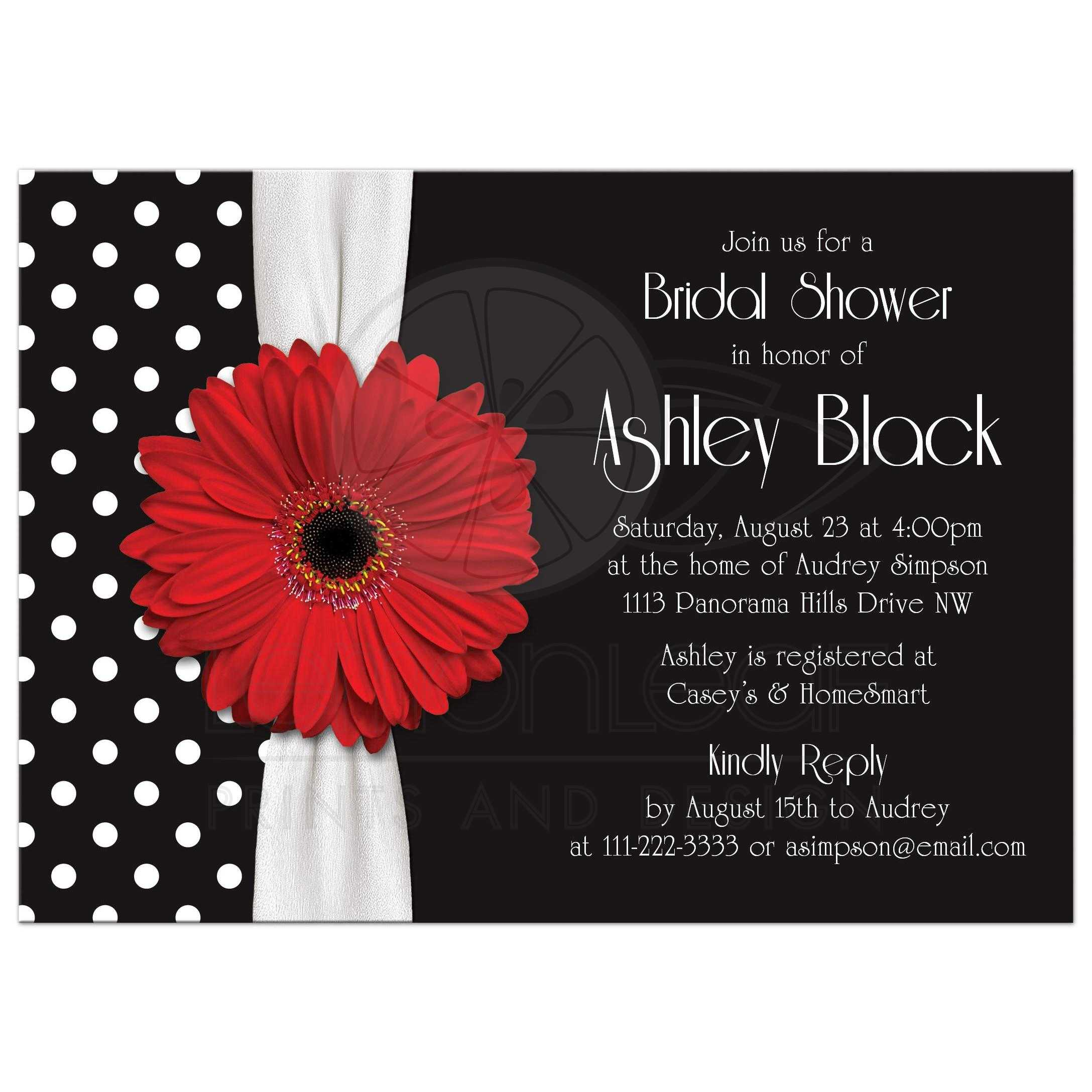 Red Daisy Polka Dot Bridal Shower Invitation | Red Black White