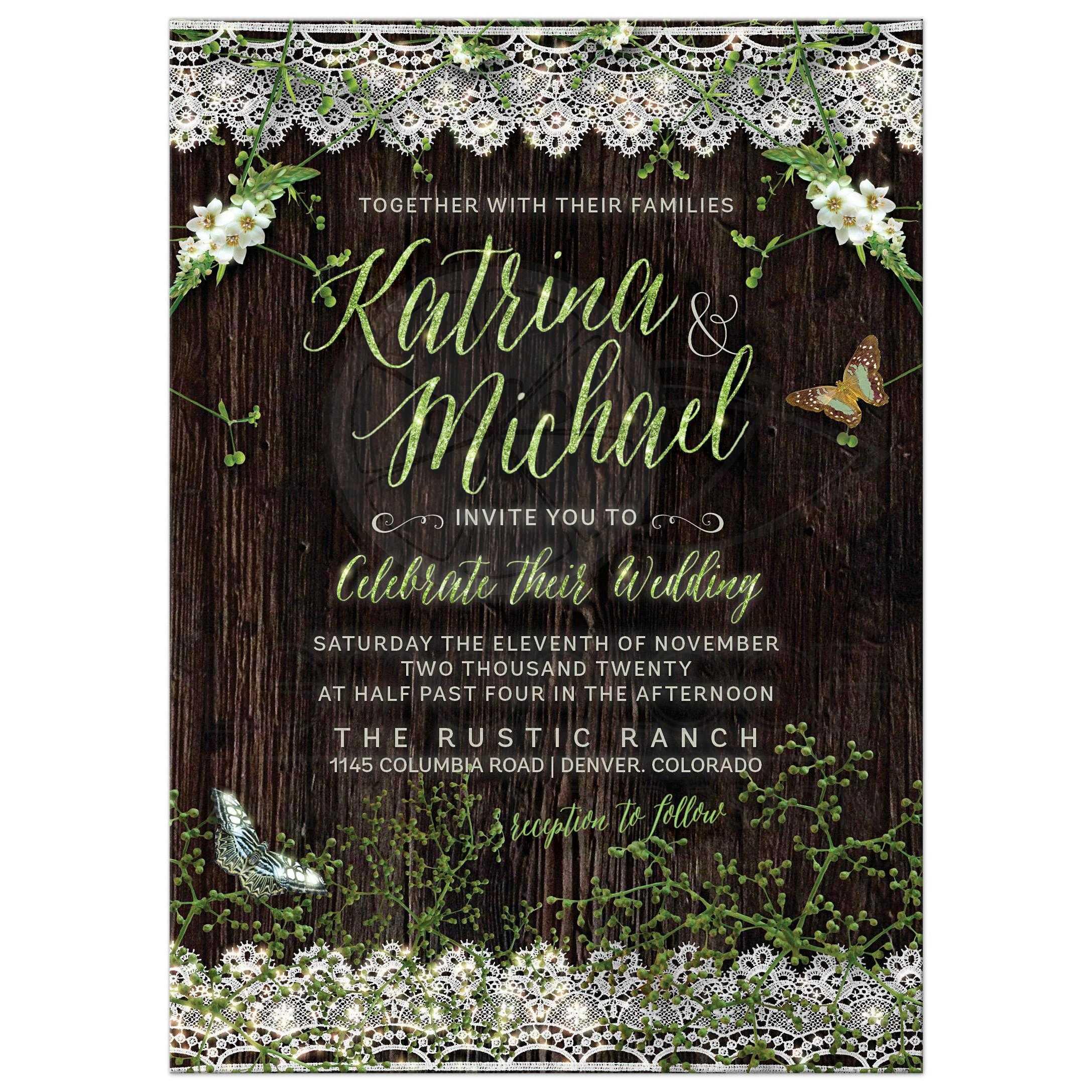 Rustic Woodsy Wedding Ideas: Woodsy Rustic Lace Wedding Invitation