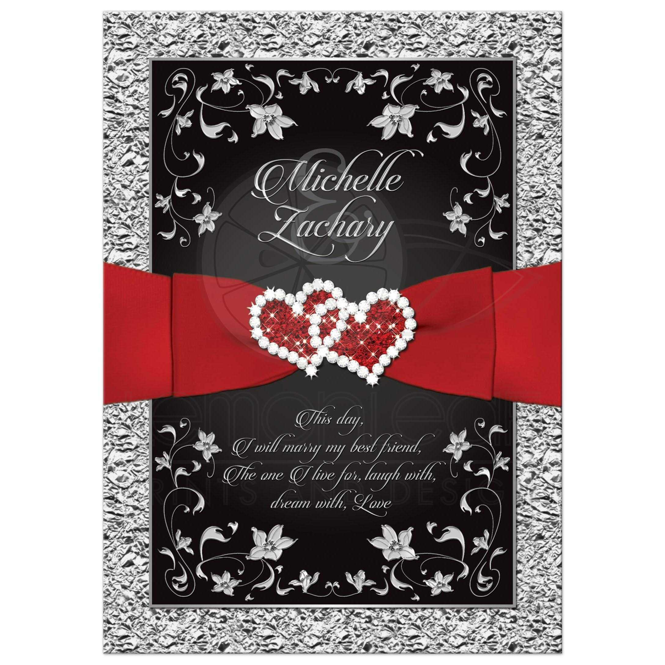 Wedding Invitation | Black, Red, Silver Floral | Joined Hearts, FAUX ...