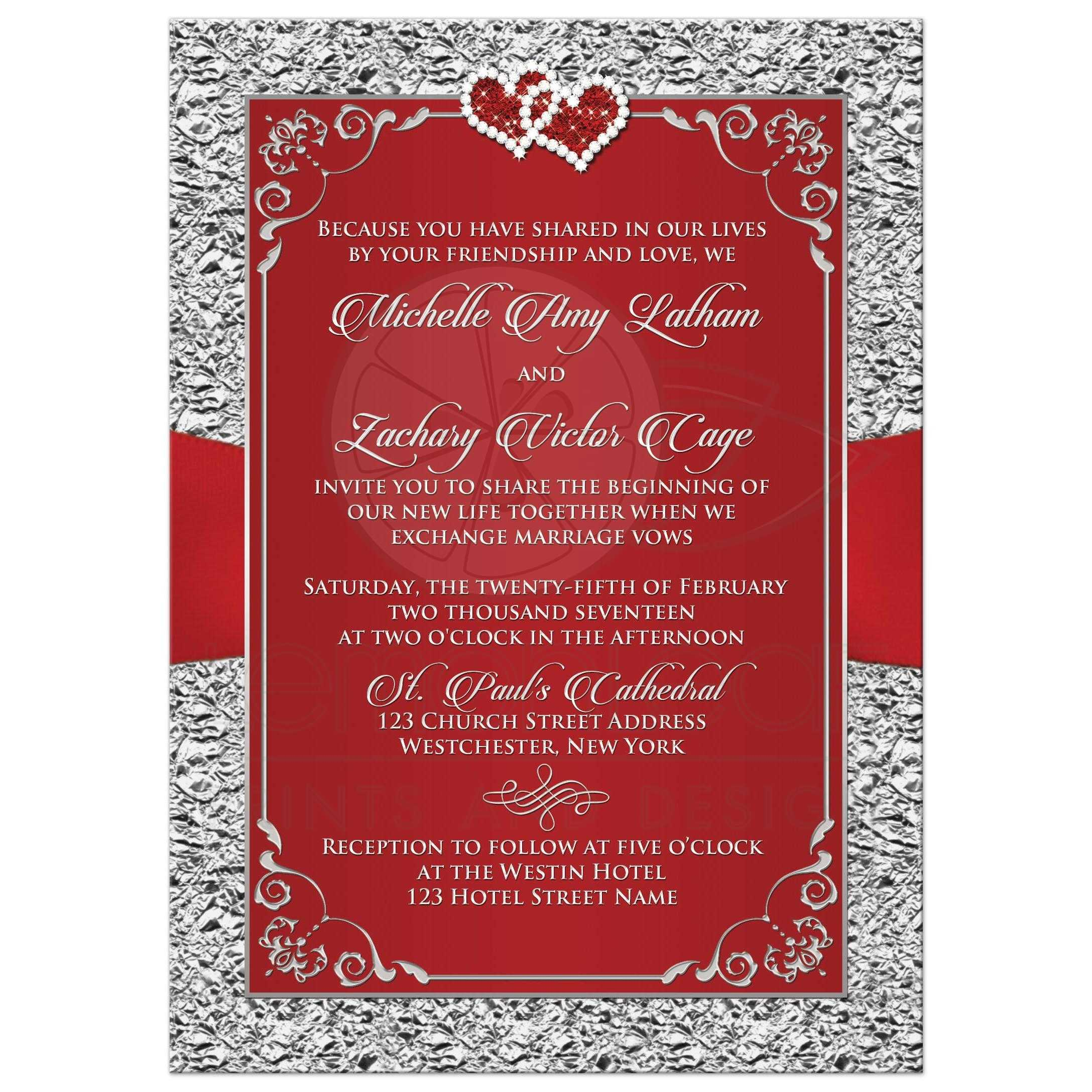 Wedding Invitation Black Red Silver Floral Joined Hearts FAUX