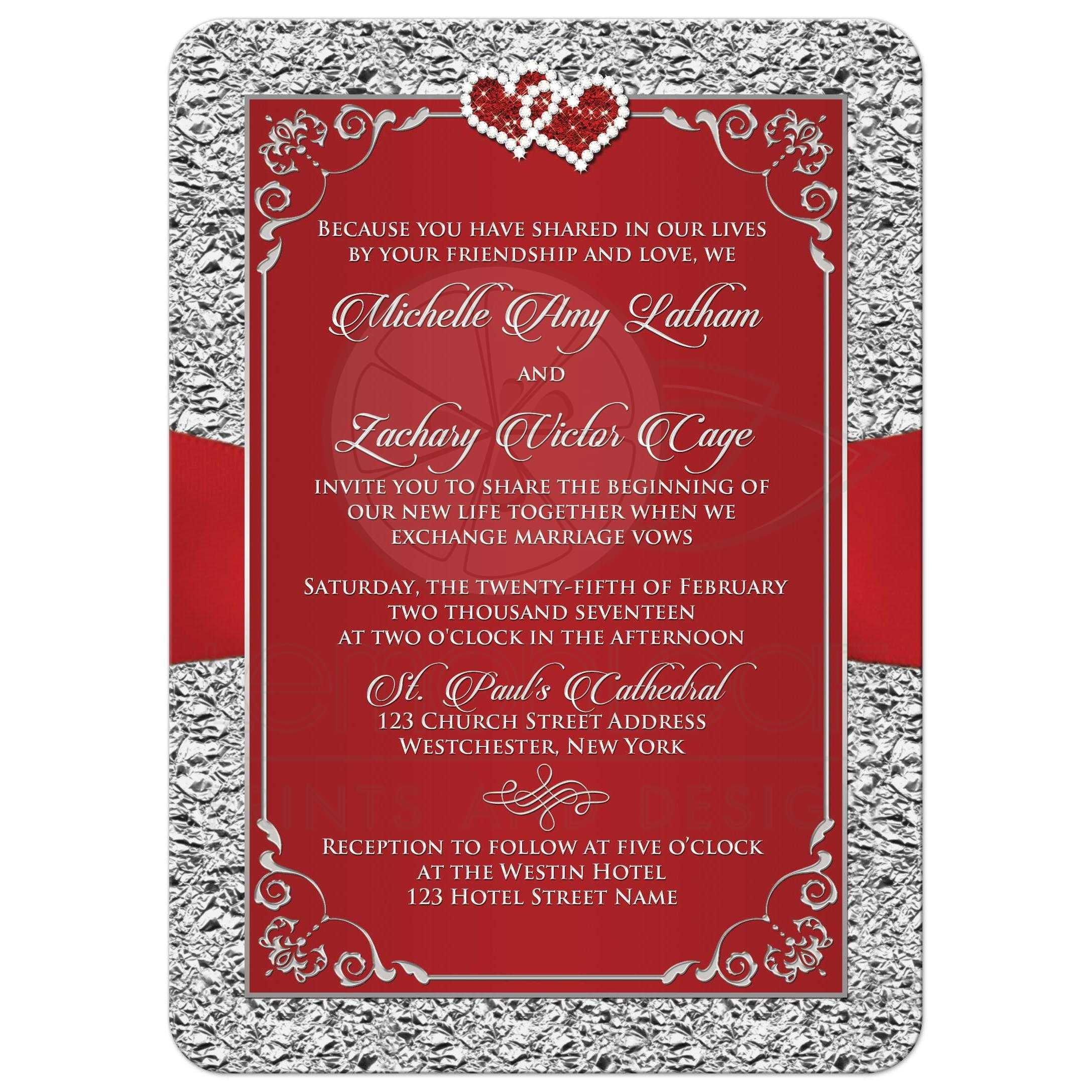 ... Black, Red And Gray Wedding Invitation With Jewel Hearts