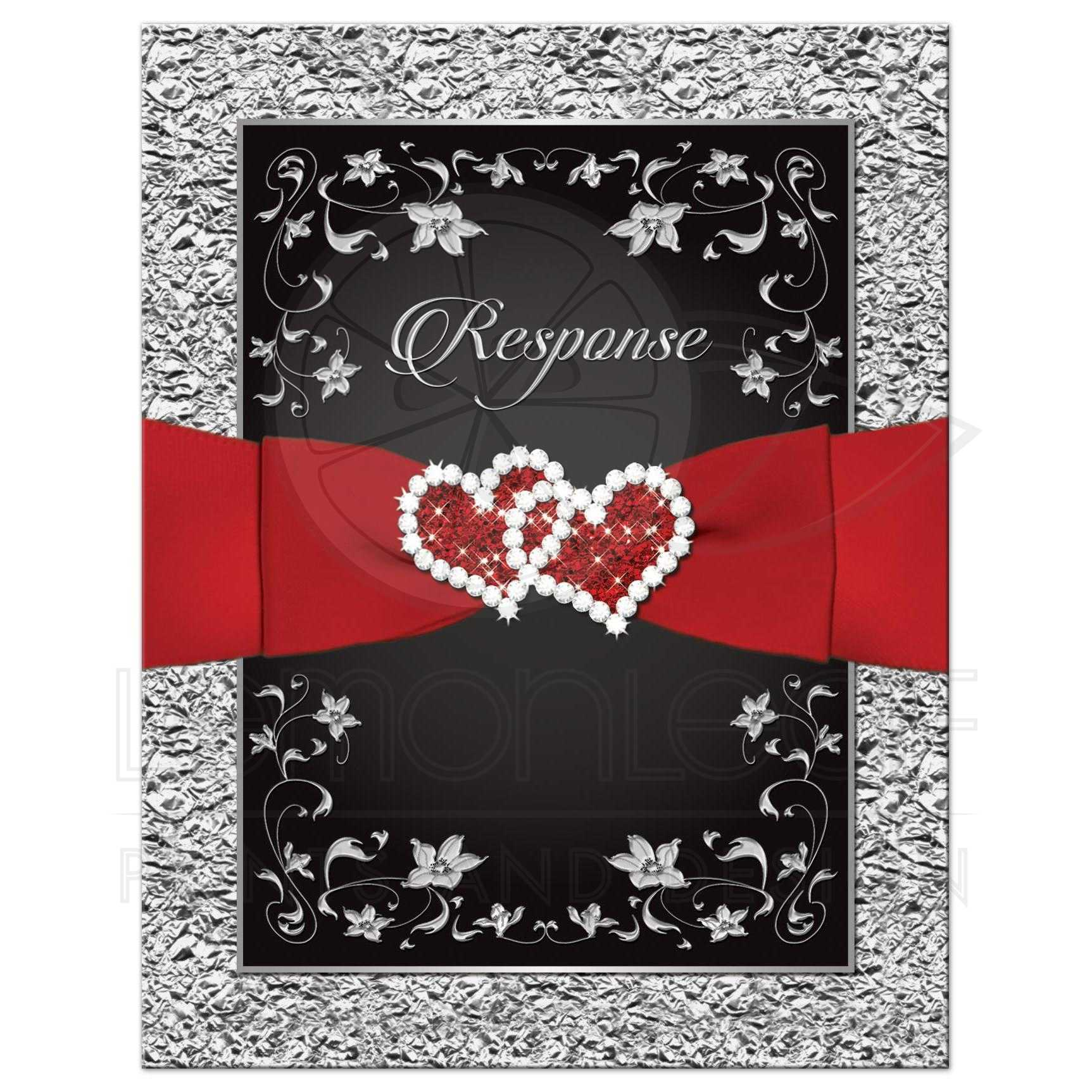 Wedding RSVP Card | Black, Red, Silver Floral | Joined Hearts, FAUX ...