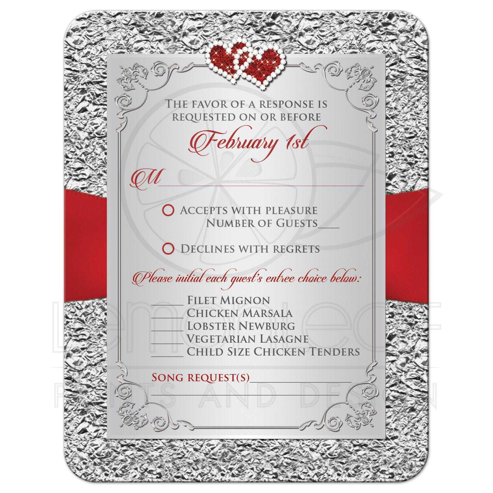 Wedding RSVP Card Black, Red, Silver Floral Joined