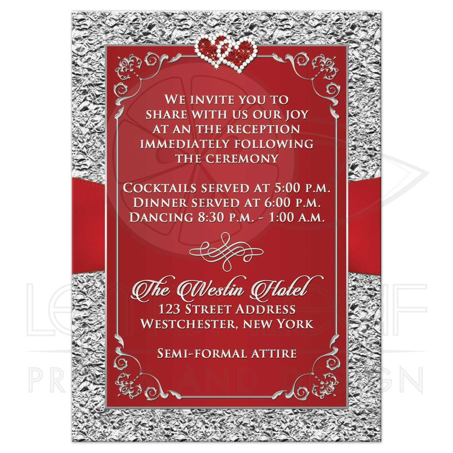Wedding Enclosure Card | Black, Red, Silver Floral | Joined Hearts ...