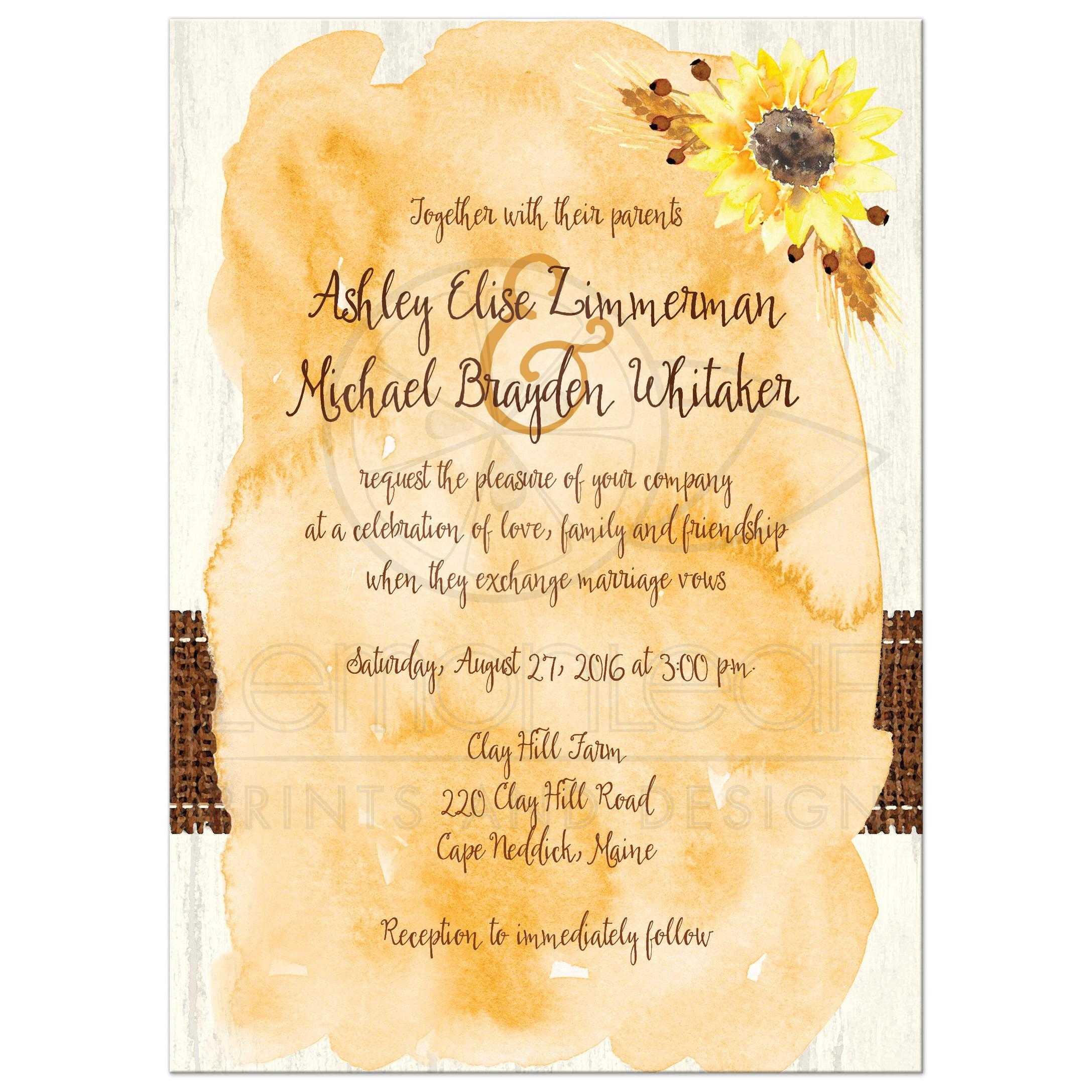 Rustic Wedding Invitation Watercolor Sunflowers Stitched Burlap