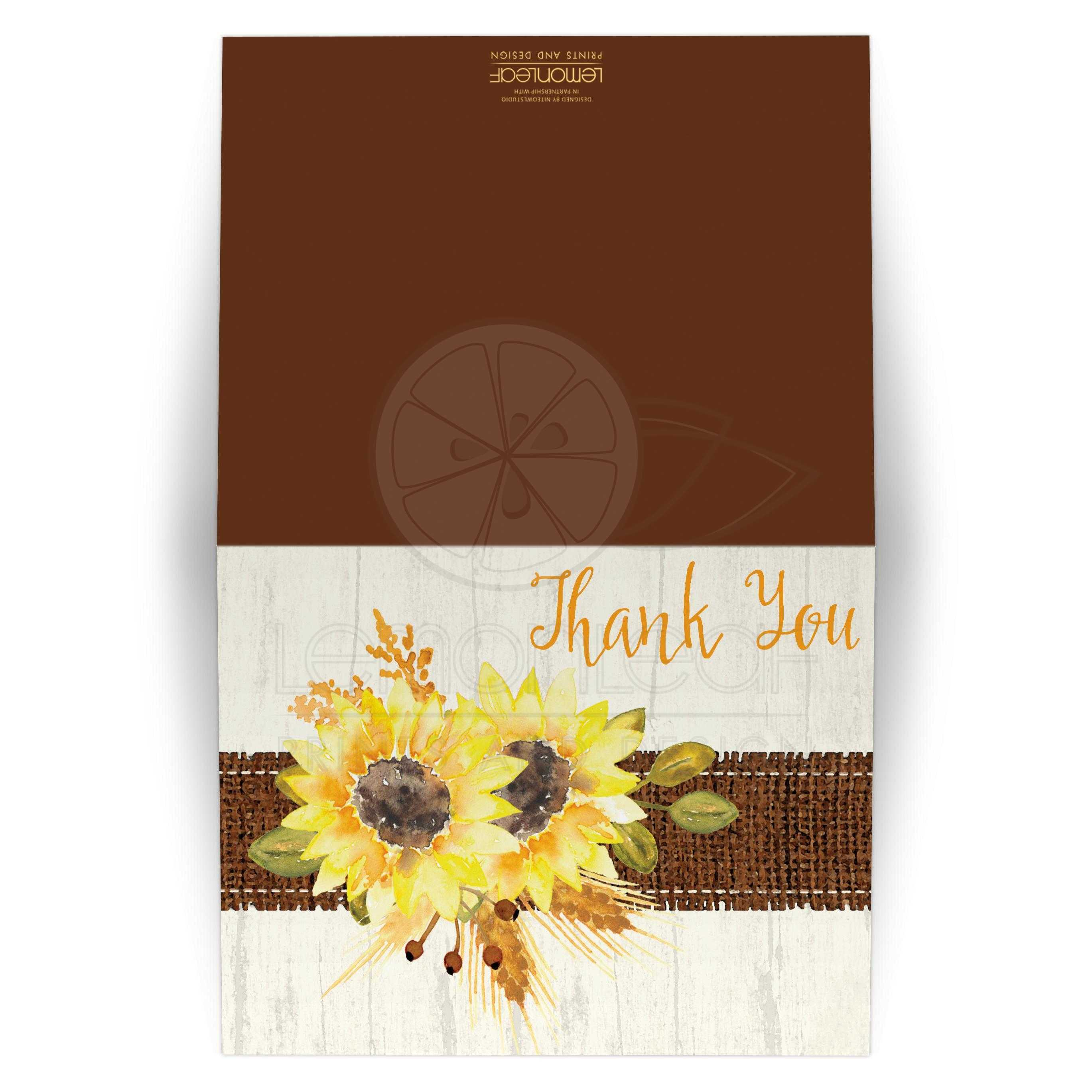 Rustic Wedding Thank You Card Watercolor Sunflowers Stitched