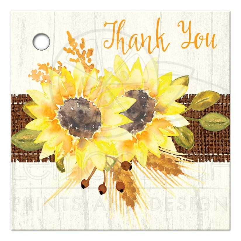 Rustic Wedding Favor Tag | Watercolor Sunflowers, Stitched ...