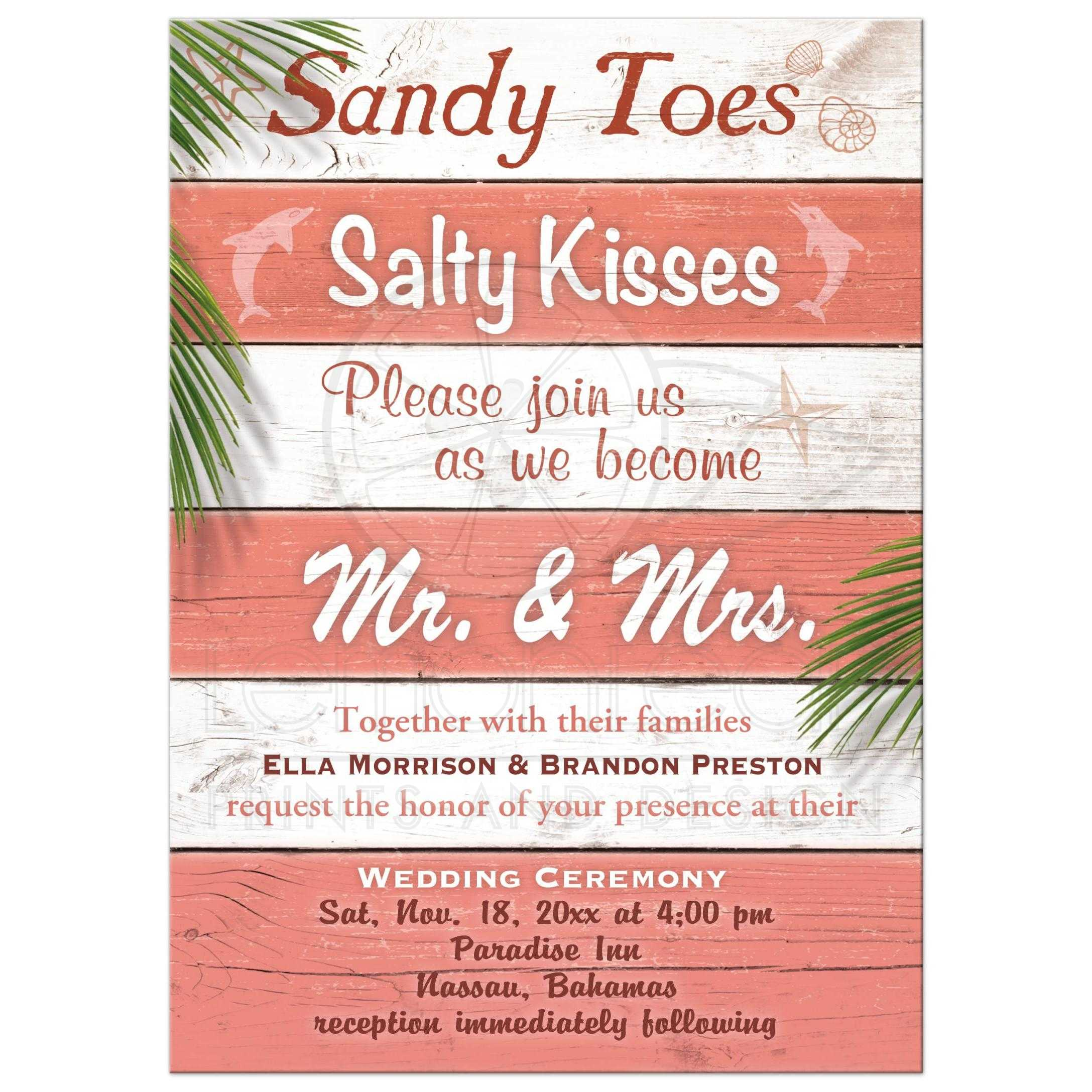 wedding invitation coral beach sandy toes salty kisses