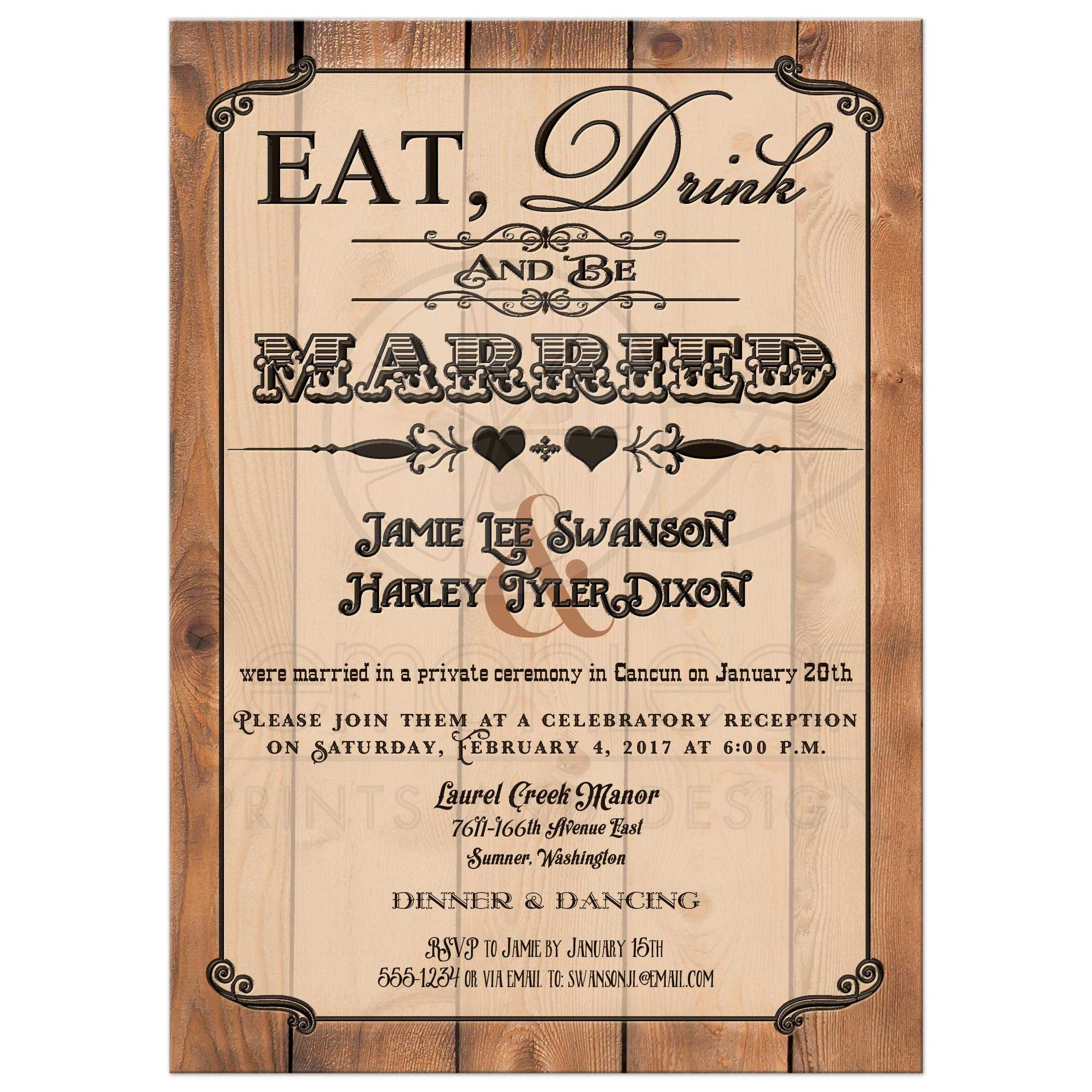 Post Wedding Reception Only Invitation Eat Drink And Be Married