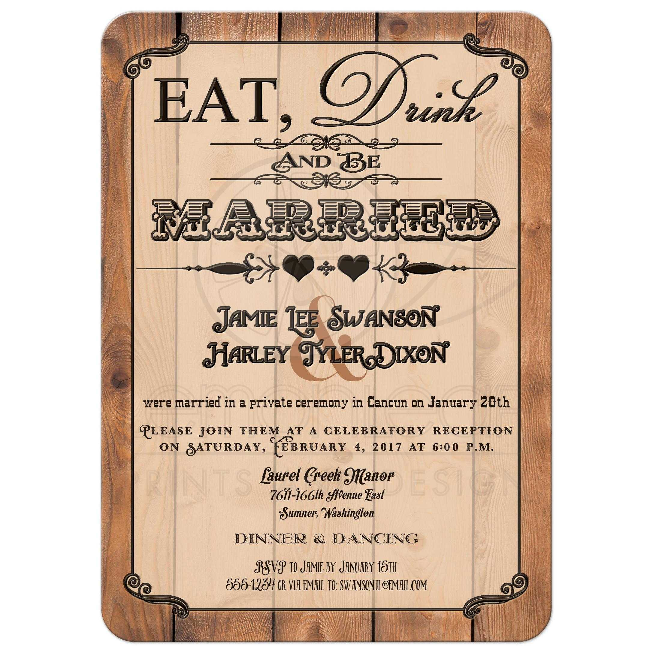 Wedding Reception Invitation Wording Funny: Post Wedding Reception Only Invitation