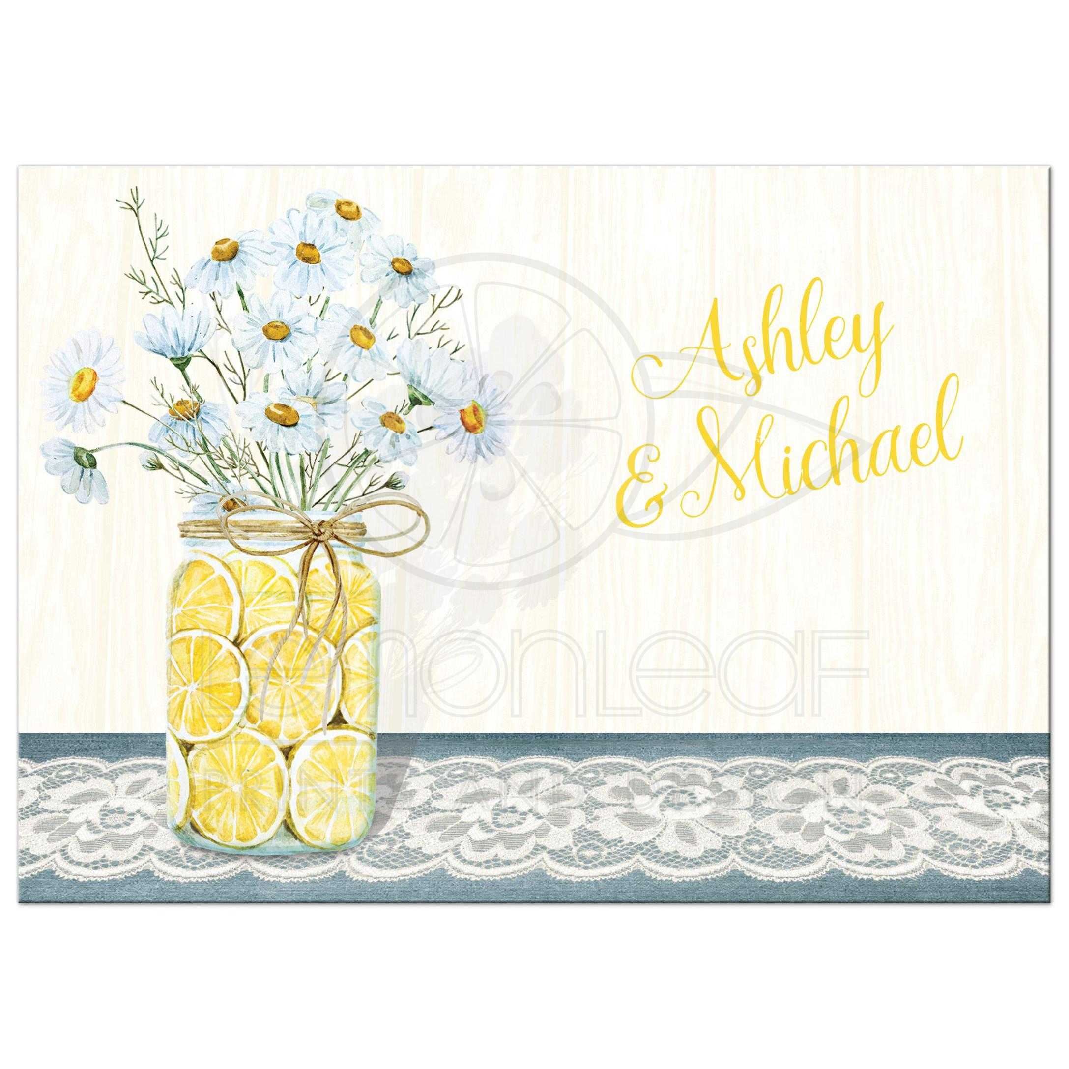 shabby chic wedding invitation daisies lace denim lemons and rh lemonleafprints com shabby chic yellow wallpaper shabby chic yellow furniture