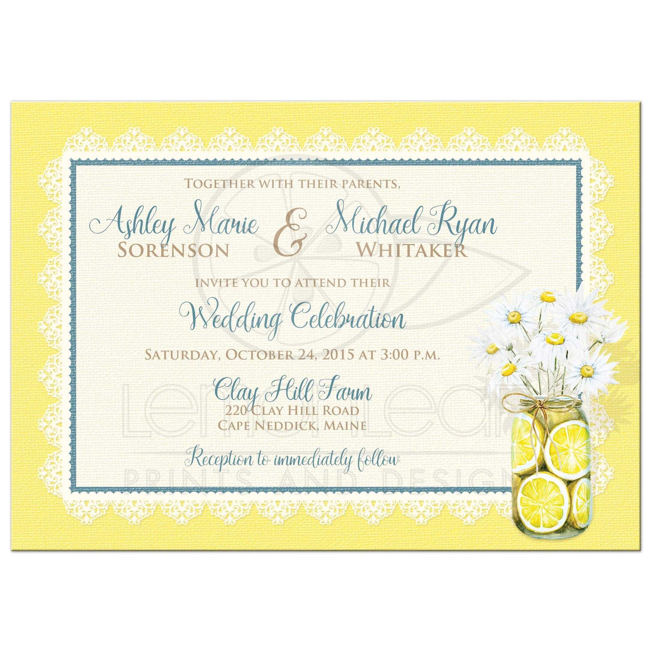 Shabby Chic Wedding Invitation Daisies Lace Denim Lemons and