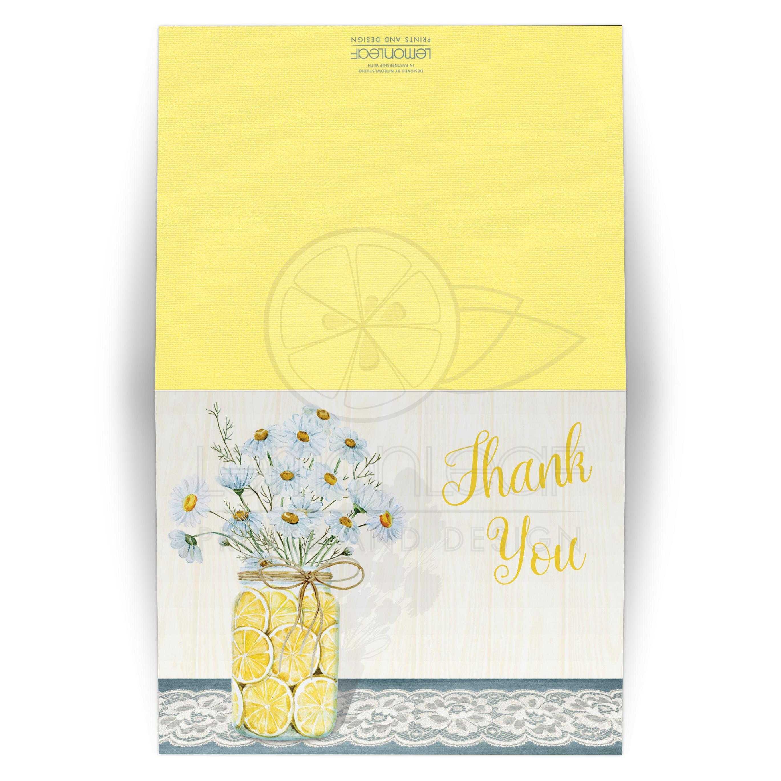 Shabby Chic Wedding Thank You Card Daisies Lace Denim Lemons