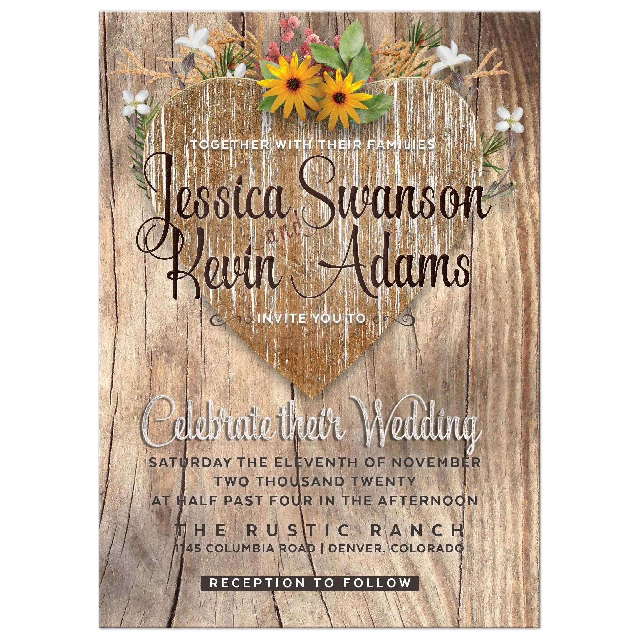 Rustic Wedding Invitations: Love Heart Wildflowers Rustic Wedding Invitation