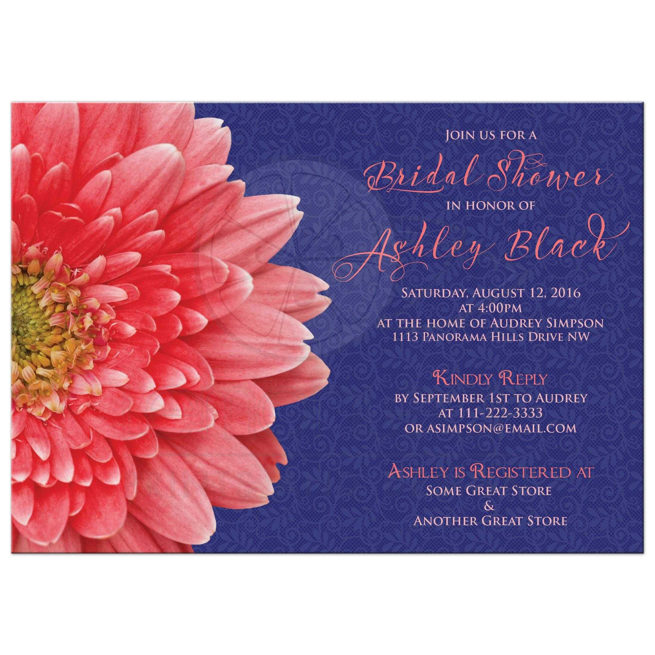 Coral daisy navy blue lace bridal shower invitation coral gerbera daisy and navy blue lace bridal shower invitation front filmwisefo