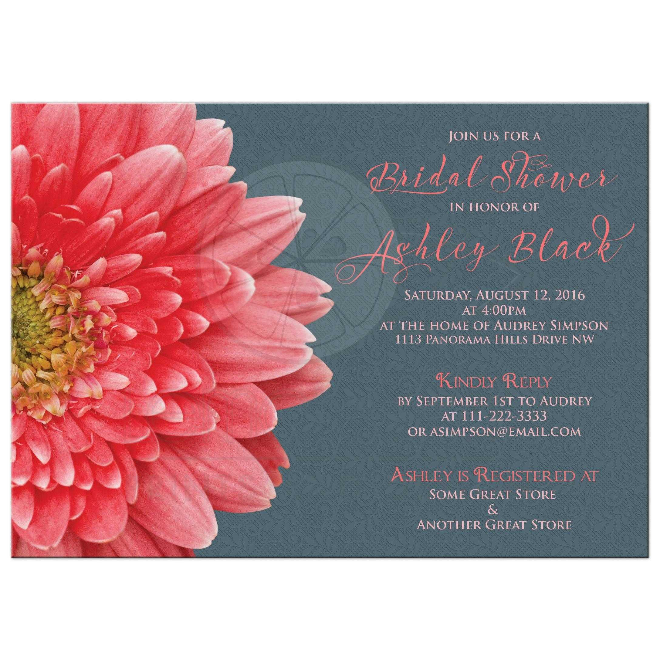 Coral Daisy Gray Lace Bridal Shower Invitation