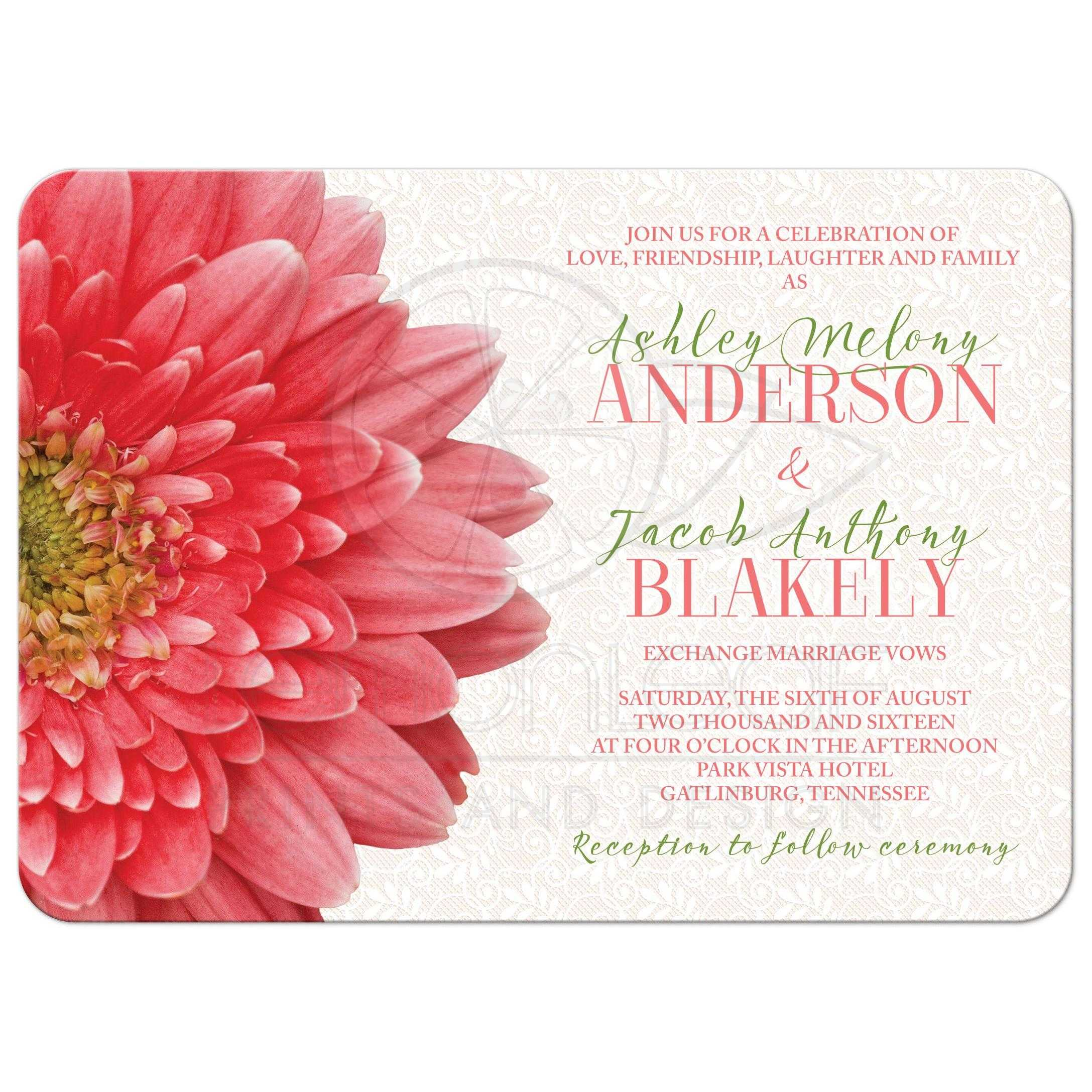 Coral And White Wedding Invitations: Coral Green Gerbera Daisy Lace Wedding Invitation
