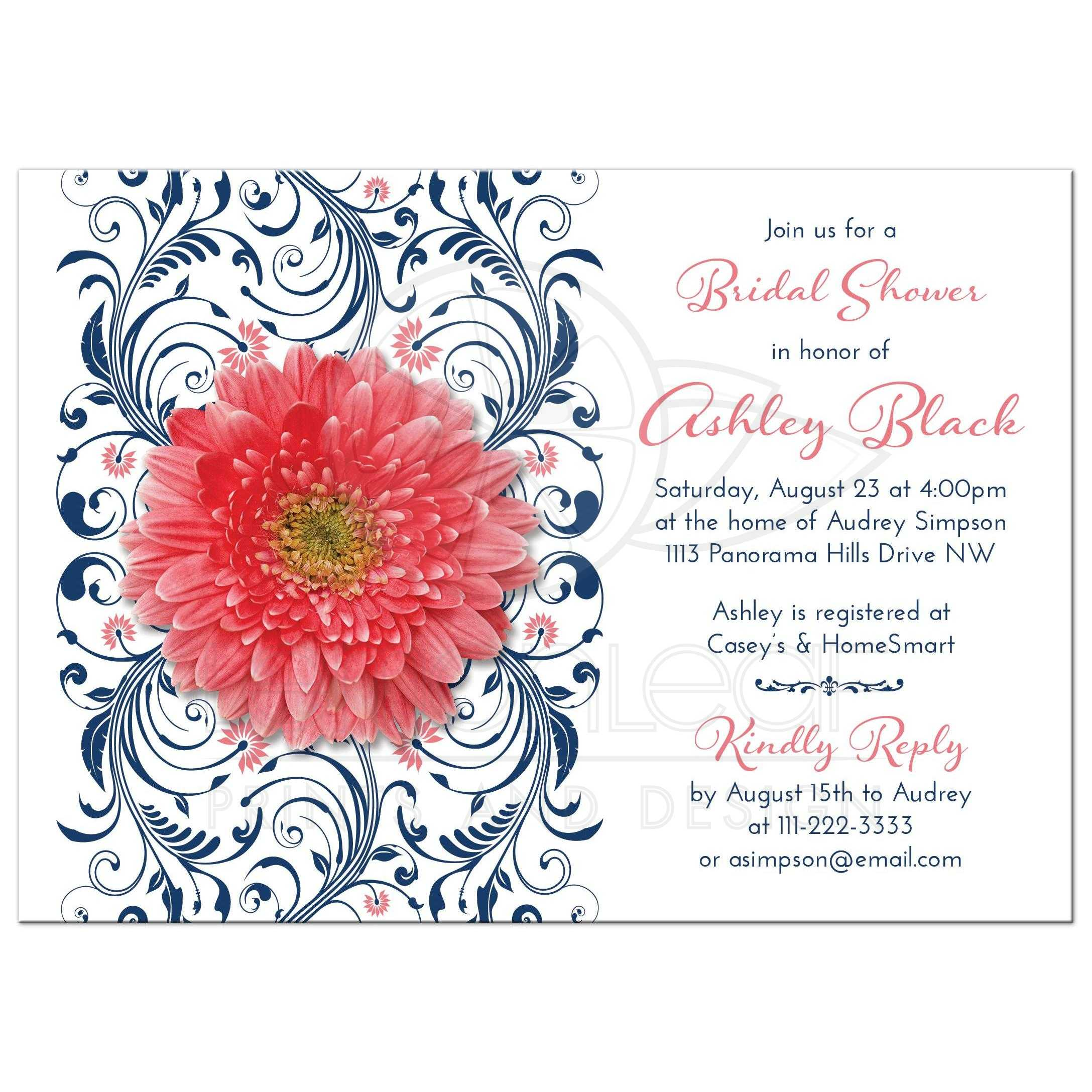 Coral daisy navy floral bridal shower invitation coral gerbera daisy and navy blue floral bridal shower invitation front filmwisefo