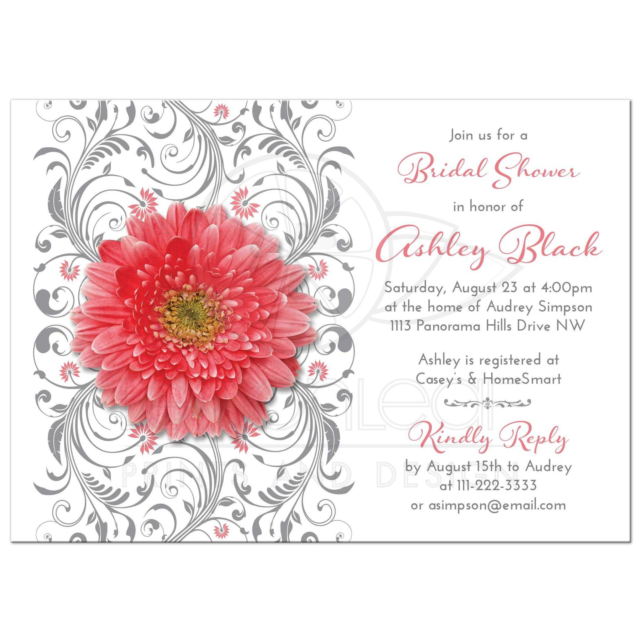 Coral Daisy Gray Floral Bridal Shower Invitation