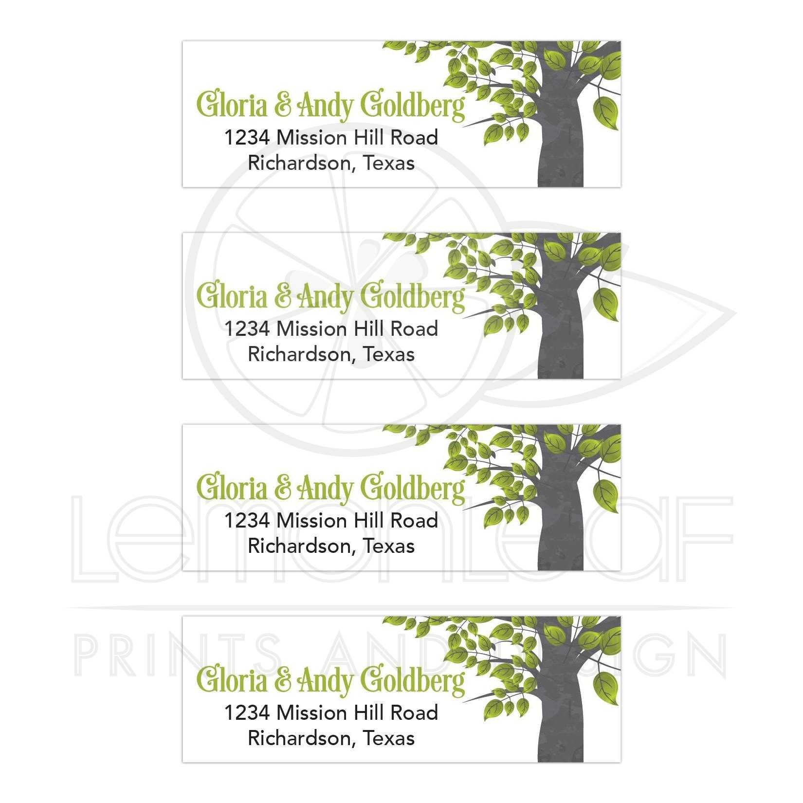 tree of life green black gray bar mitzvah mailing labels