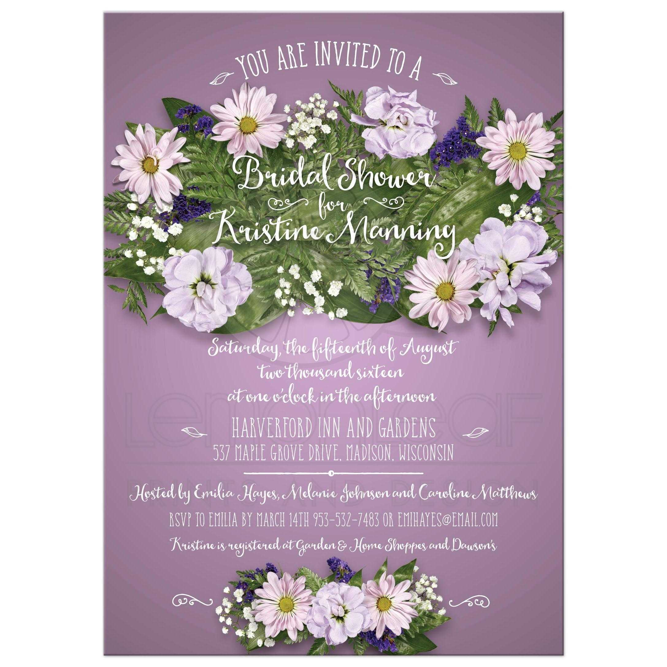 floral bouquet on purple bridal wedding shower invitation