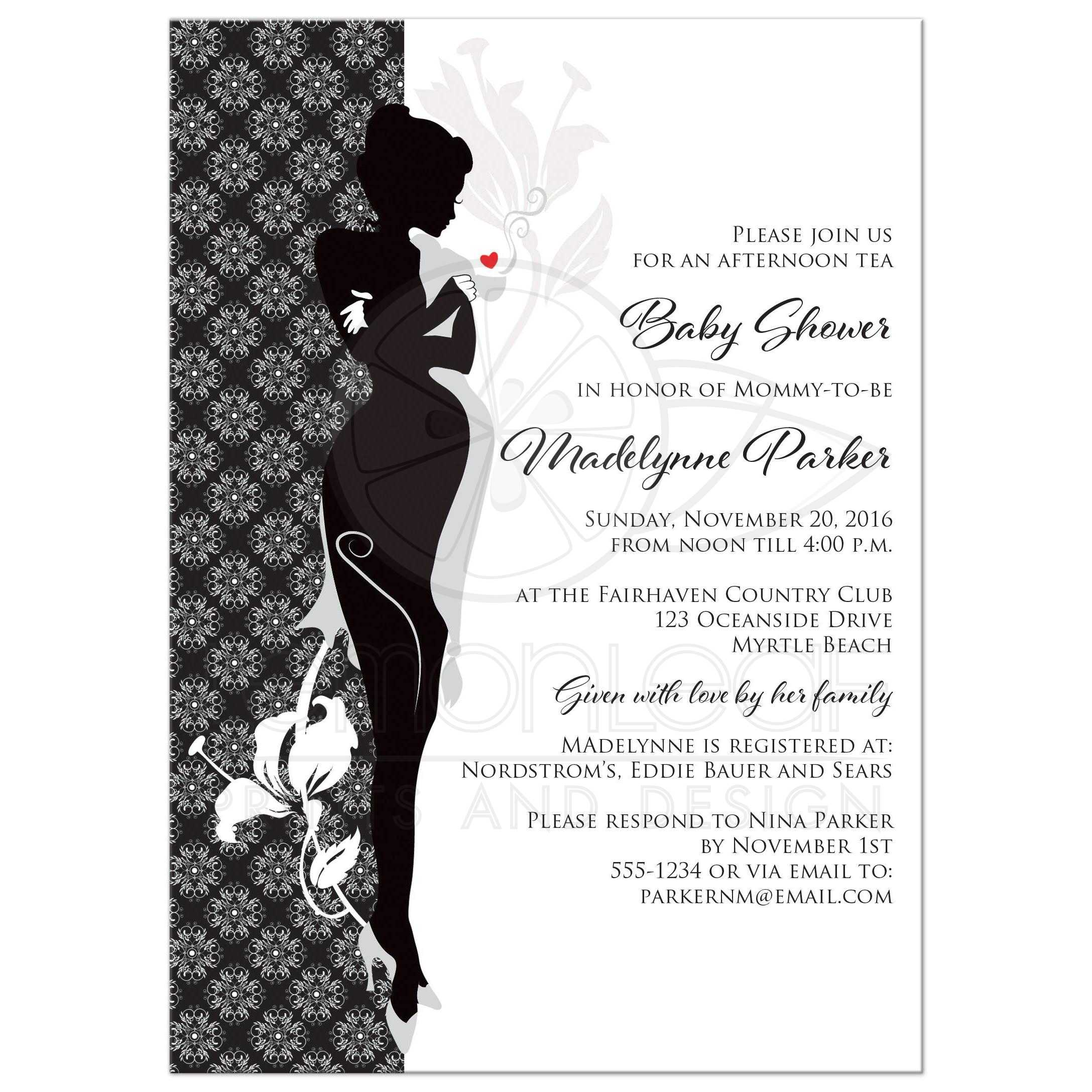 Image Of Silhouette Baby Shower Invitations silhouette baby shower ...
