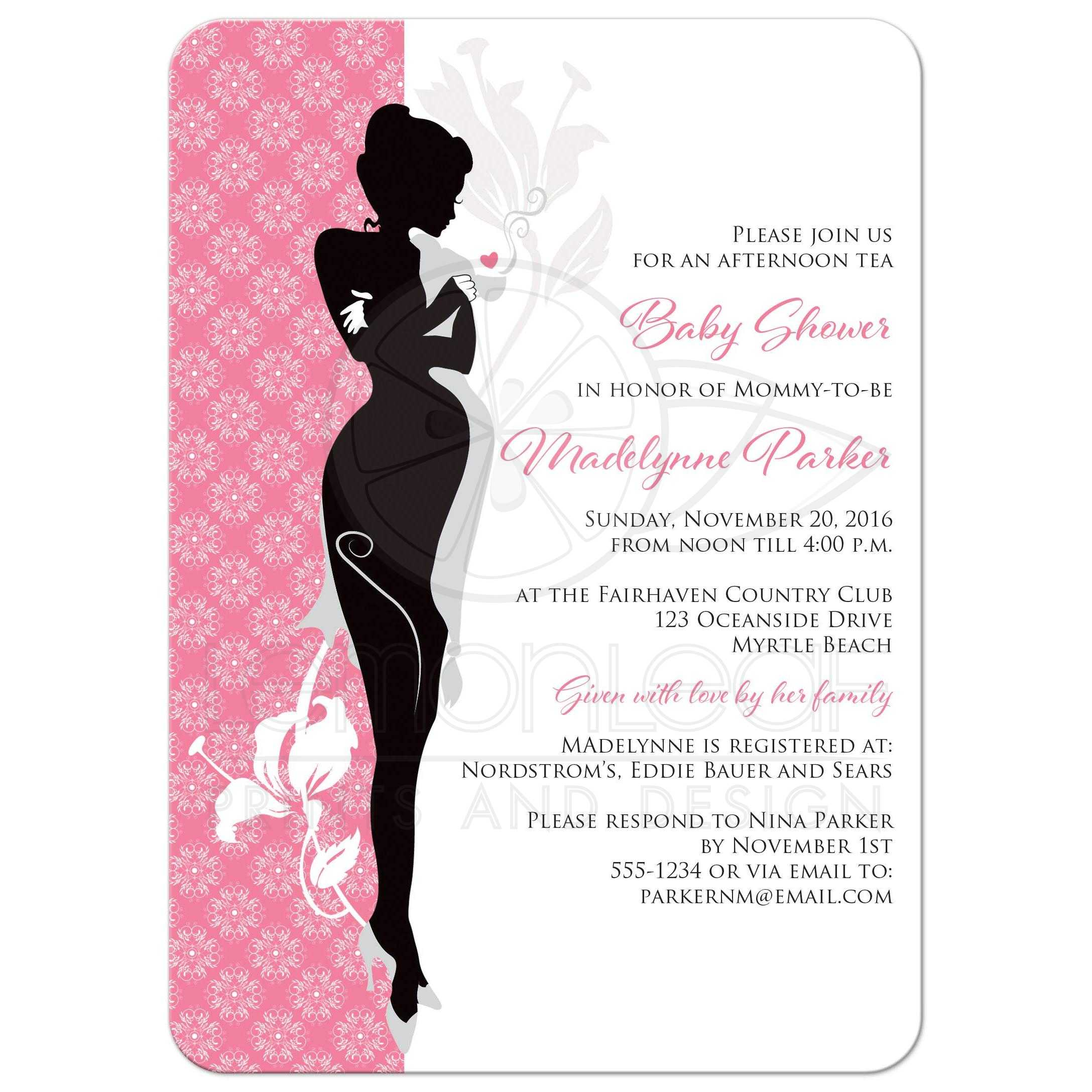 ... Great Modern Pink, Black, White And Grey Damask Pattern Baby Shower  Invites With Silhouette ...