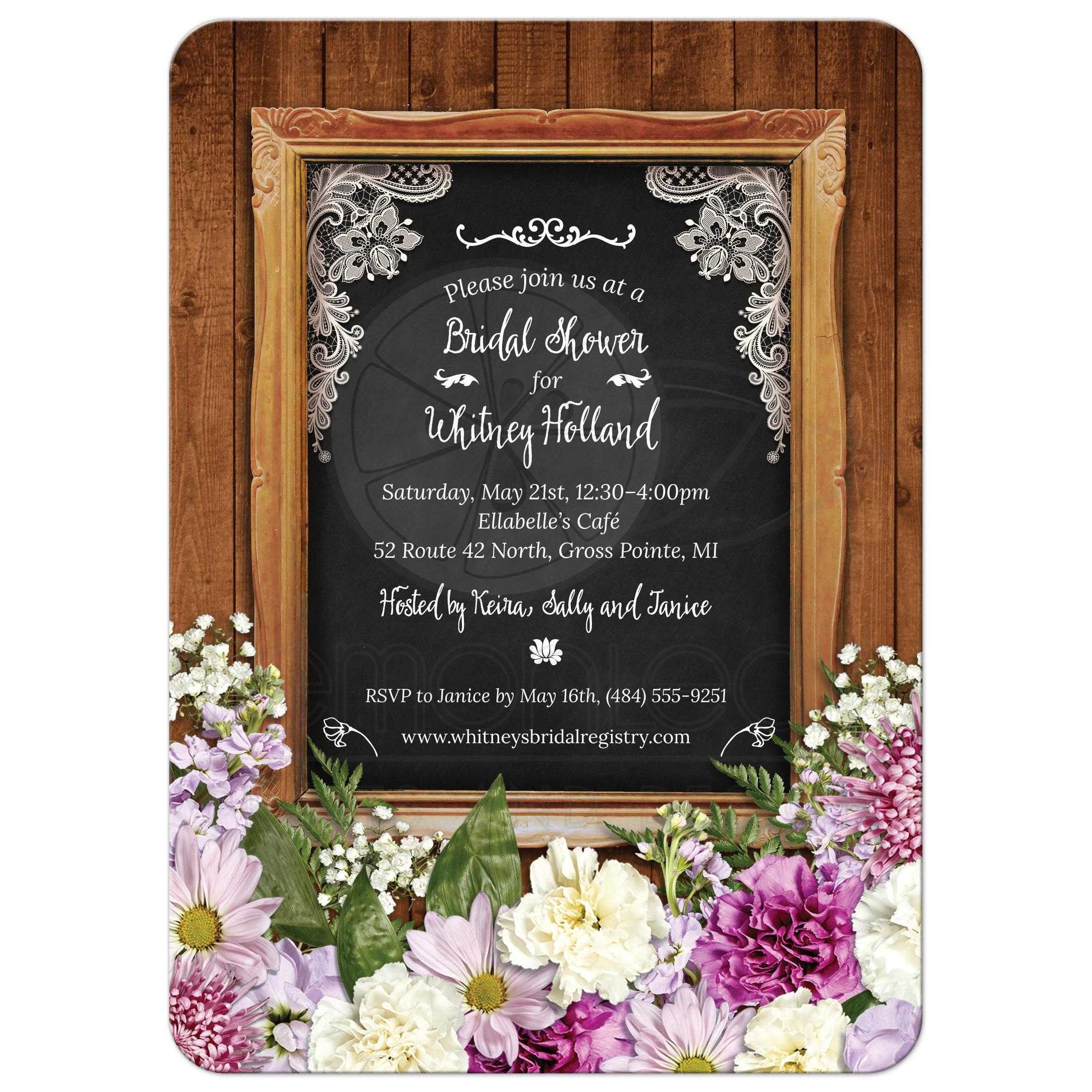Sending Wedding Invitations Post Office: Rustic Spring Chalkboard Picture Frame Floral Bridal