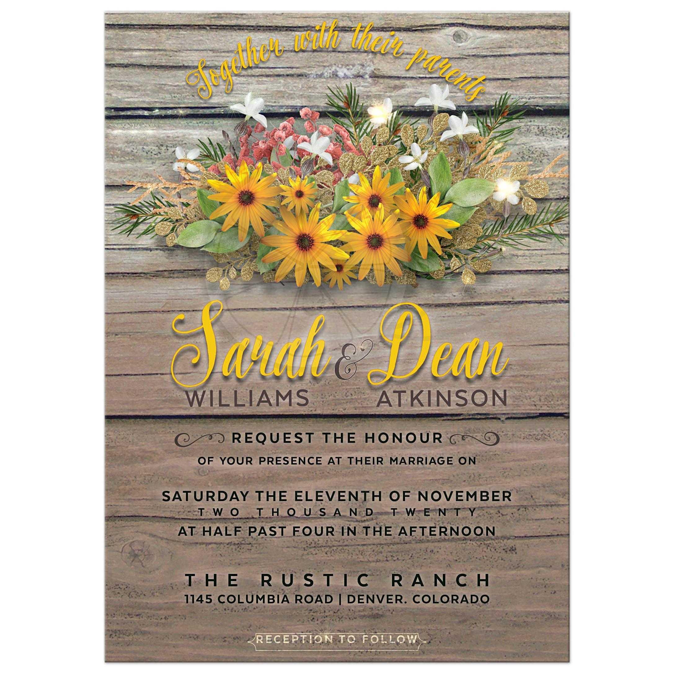Rustic Woodsy Wedding Ideas: Rustic Floral Wedding Invitation
