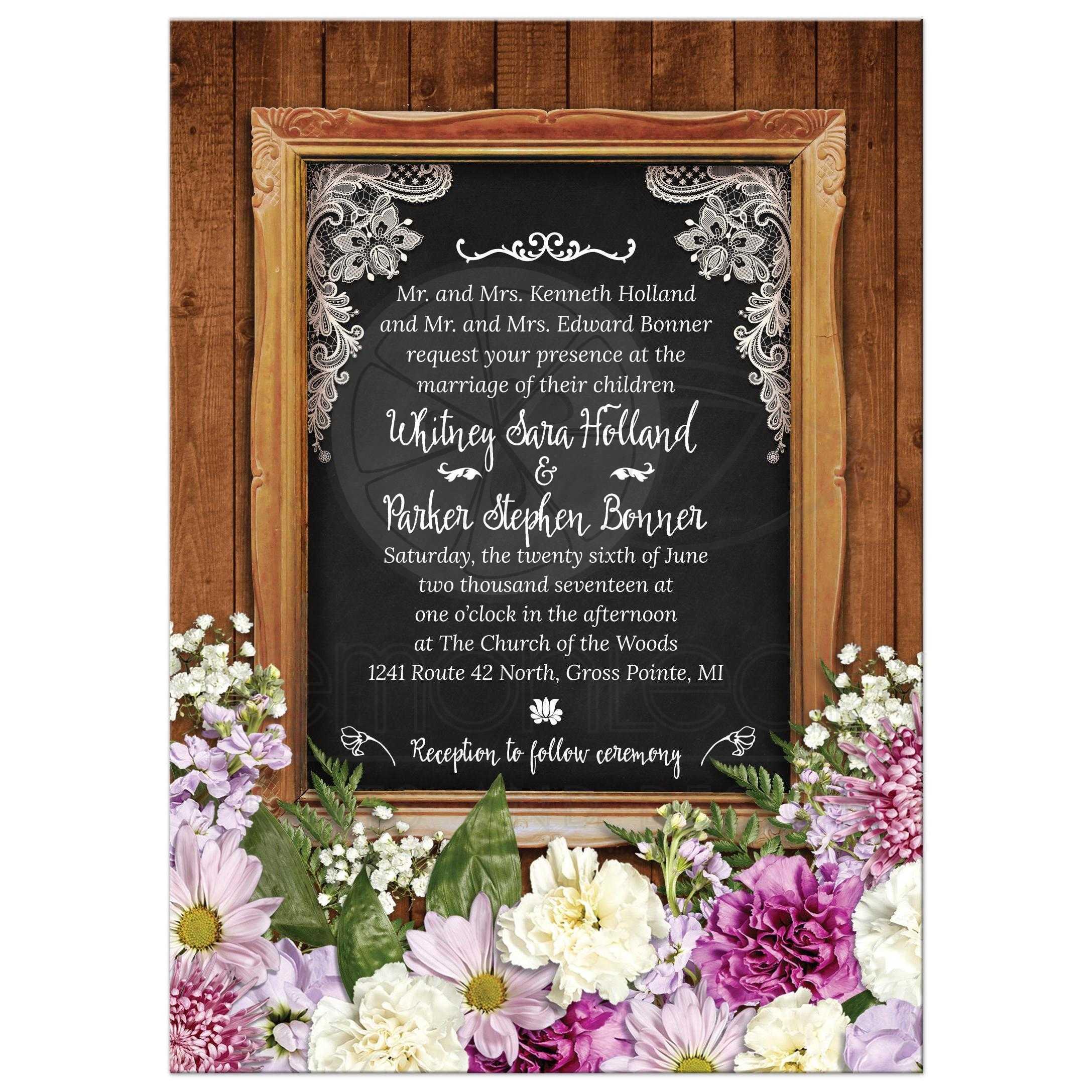 Rustic Spring Chalkboard Picture Frame Floral Wedding