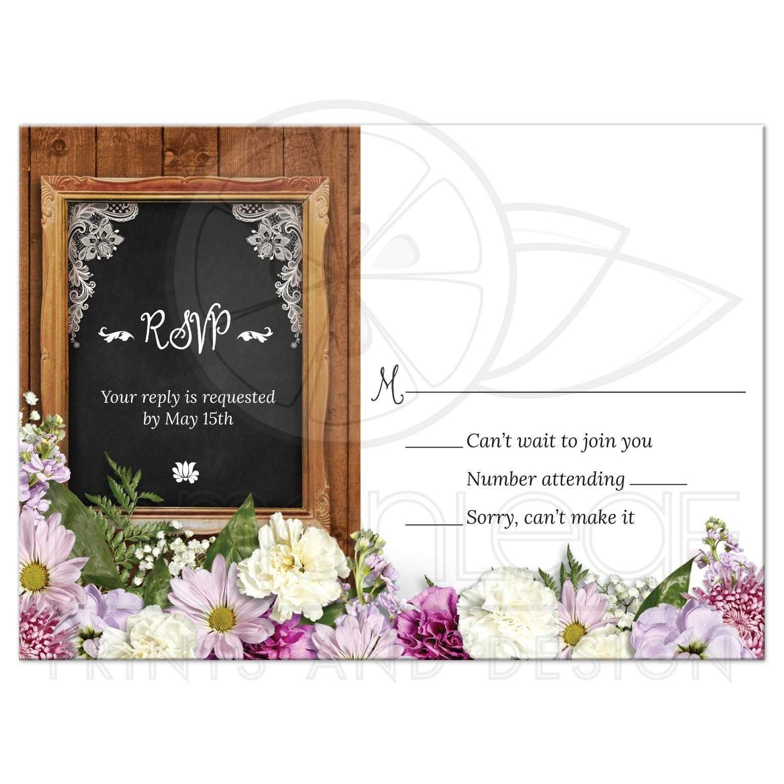 Rustic Spring Chalkboard Picture Frame Floral Wedding Reply RSVP Card