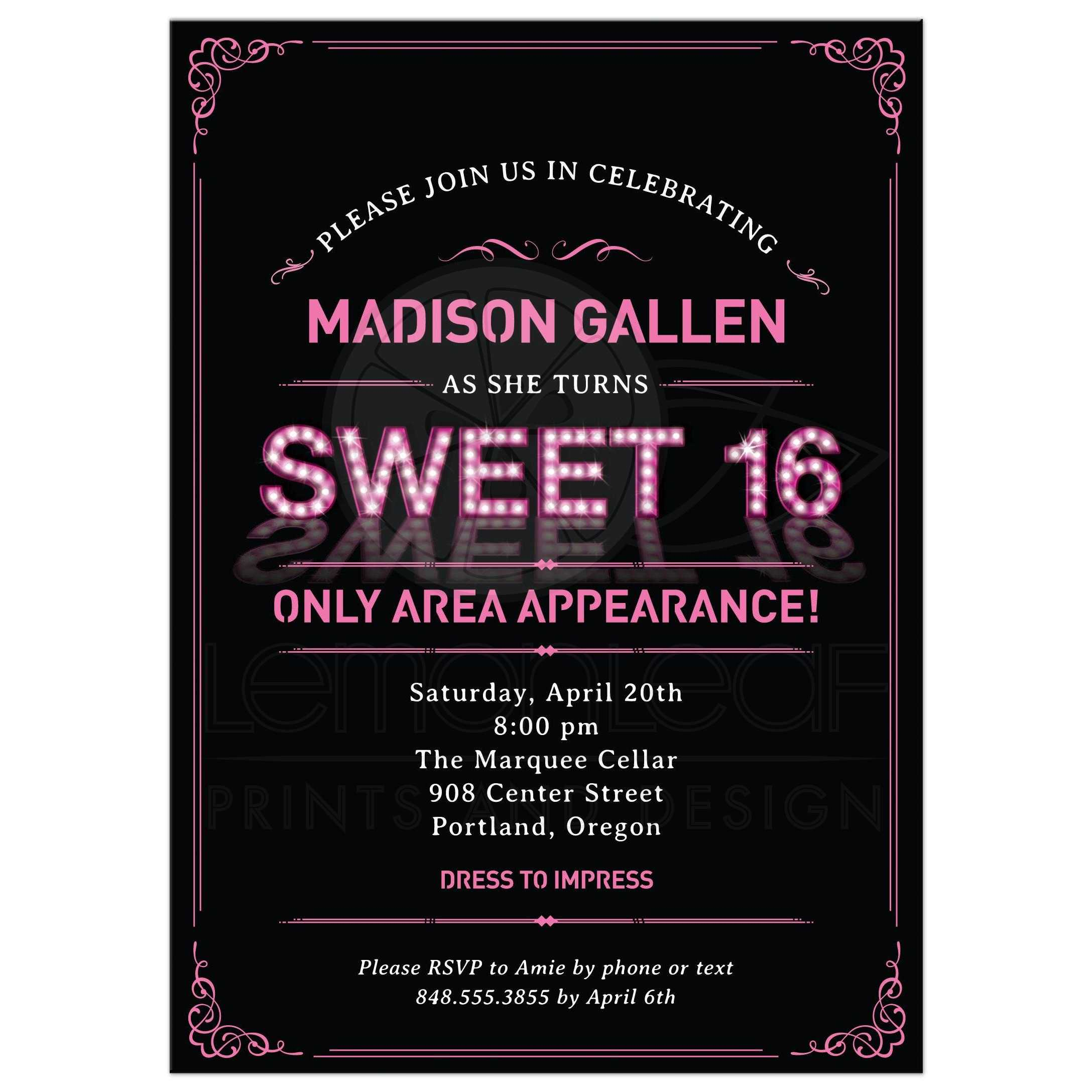 Marquee lights sweet 16 party invitation pink marquee lights sweet 16 party invitation monicamarmolfo Image collections