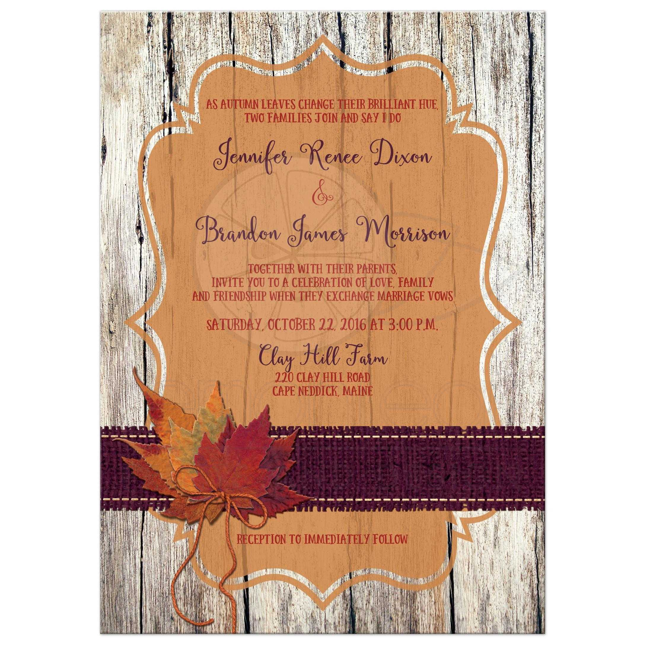 Great Rustic Orange And Purple Wood Burlap Autumn Leaves Wedding Invites With Twine Bow