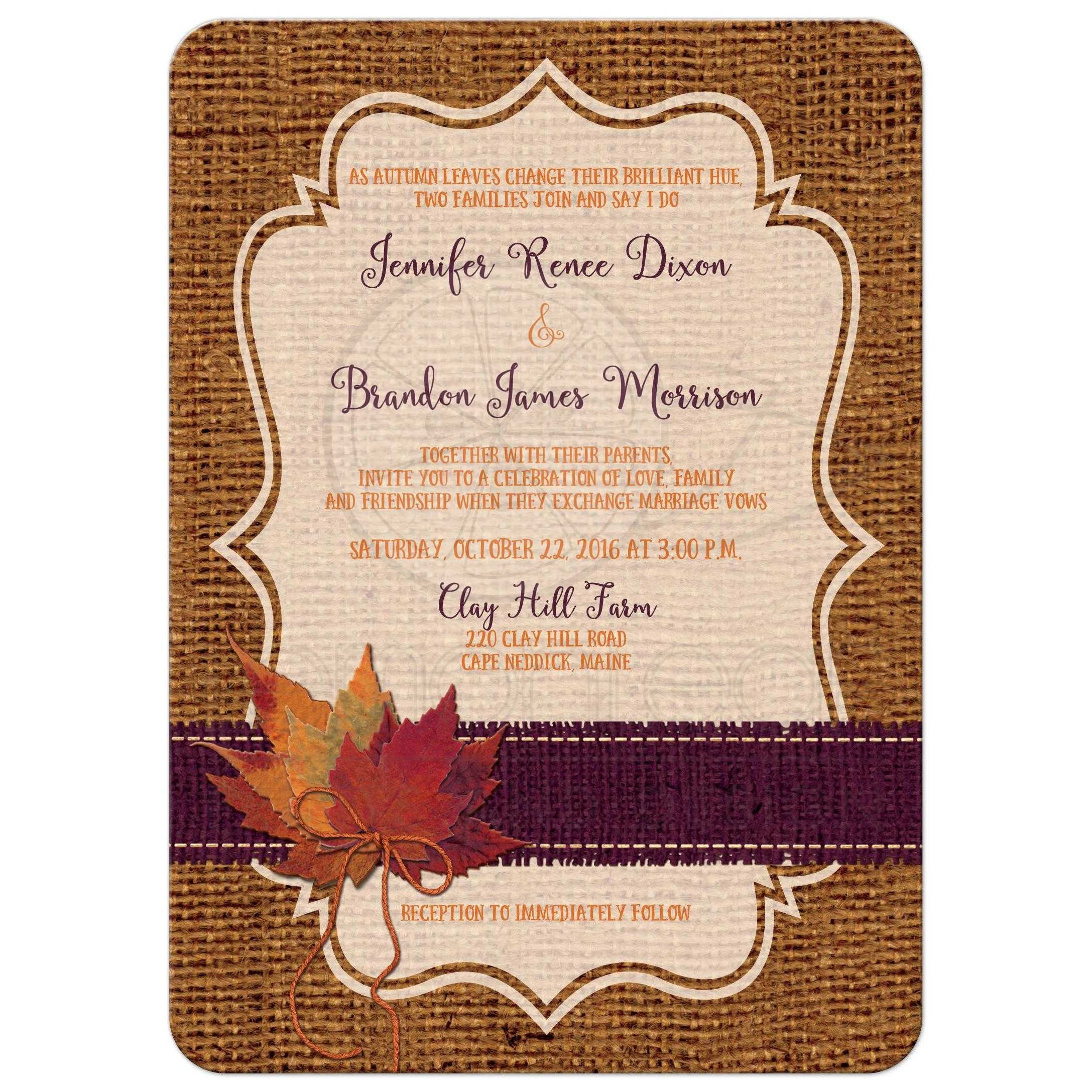 Autumn Wedding Invitation | Dried Leaves, FAUX Burlap, and Twine Bow