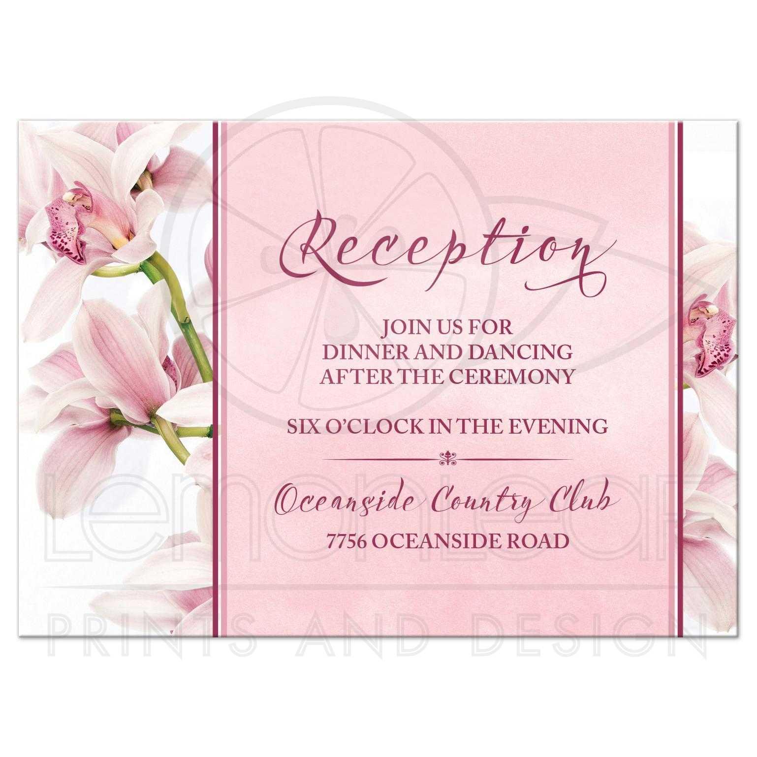 Orchid Wedding Reception Card Elegant Pink Burgundy