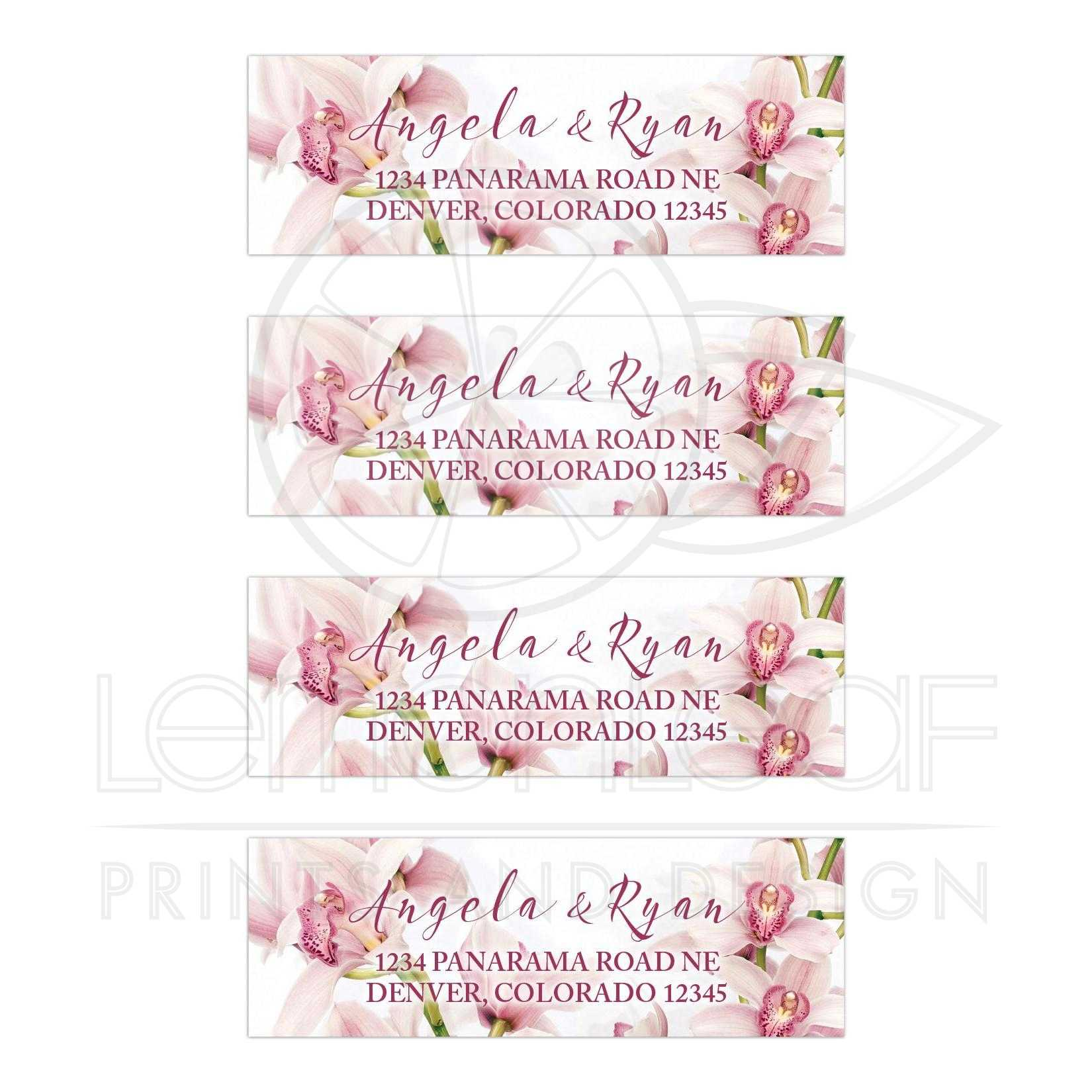 Orchid Wedding Address Labels | Elegant Pink Burgundy