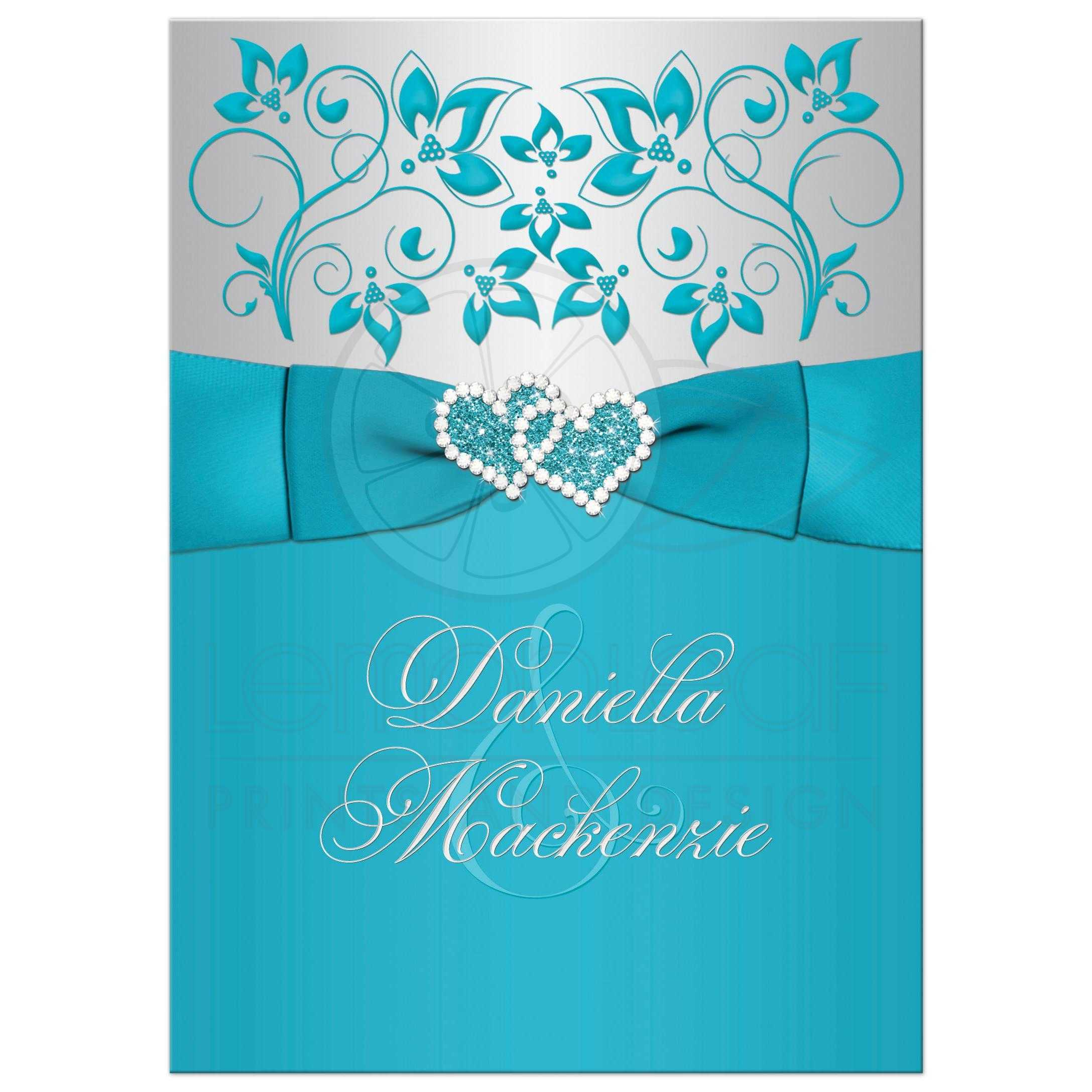 Wedding Invitation Turquoise Silver Floral PRINTED Ribbon
