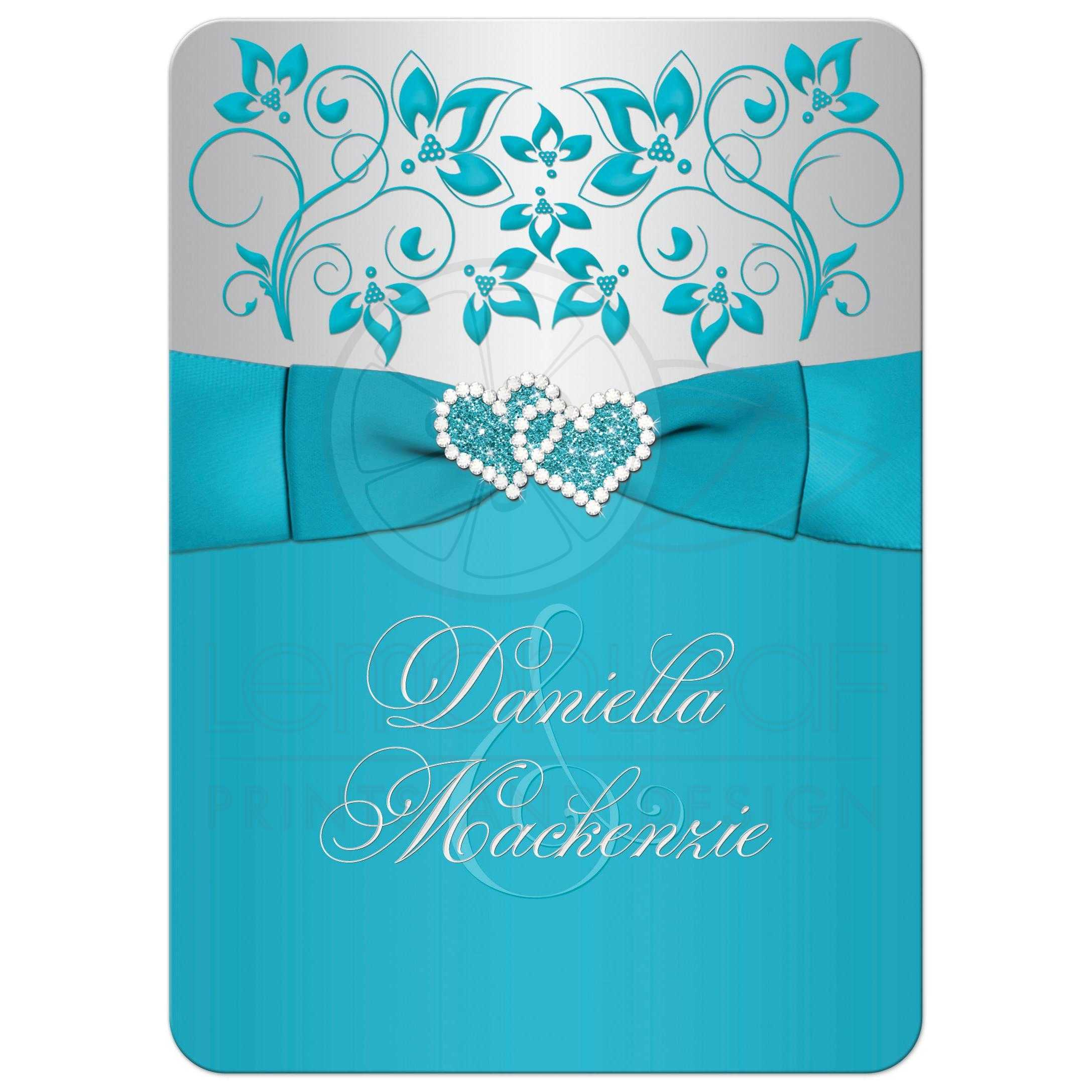 ... Great Turquoise Or Teal Blue And Silver Gray Floral Wedding Invitations  With Joined Jewel And Glitter ...
