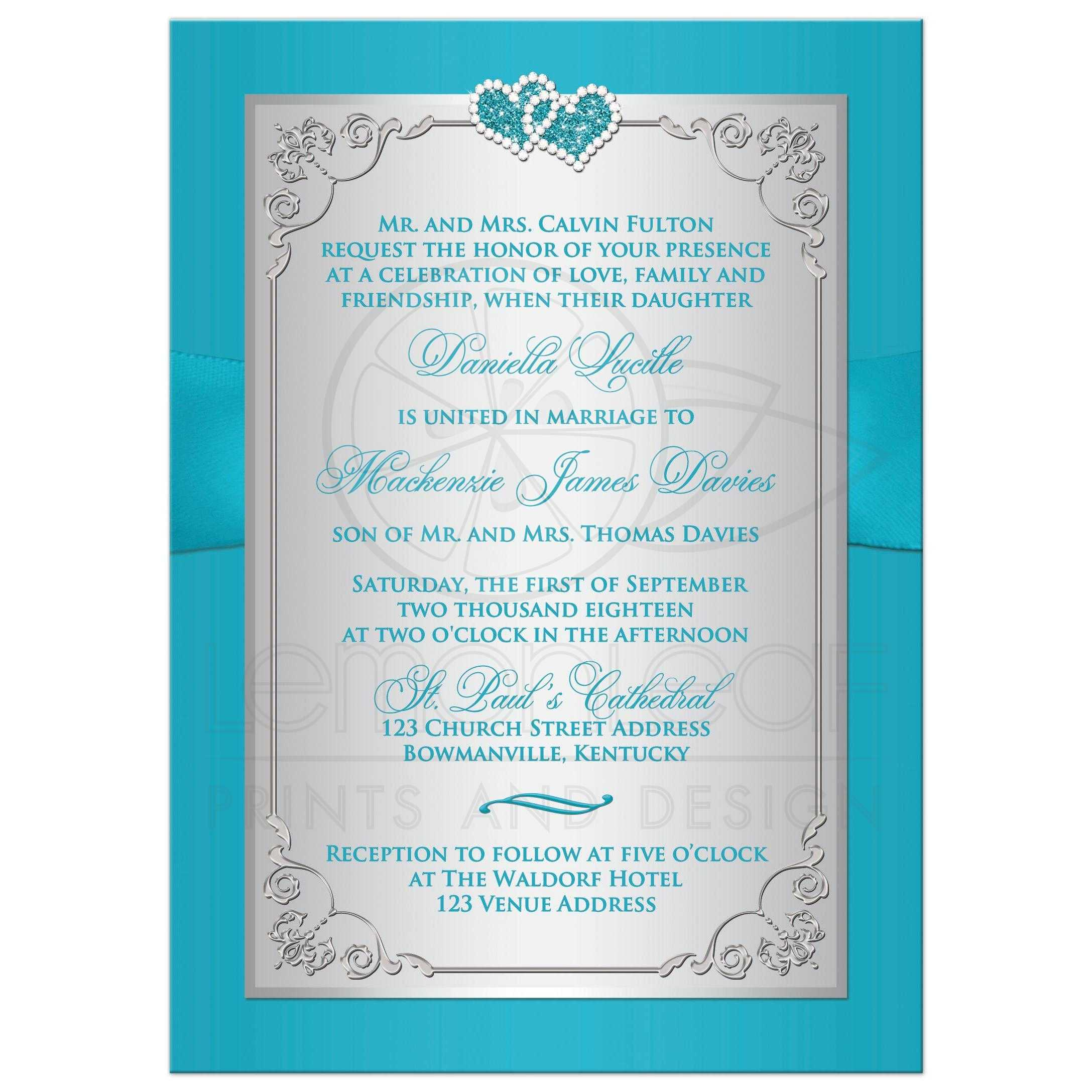 Wedding Invitation Turquoise Silver Floral Printed