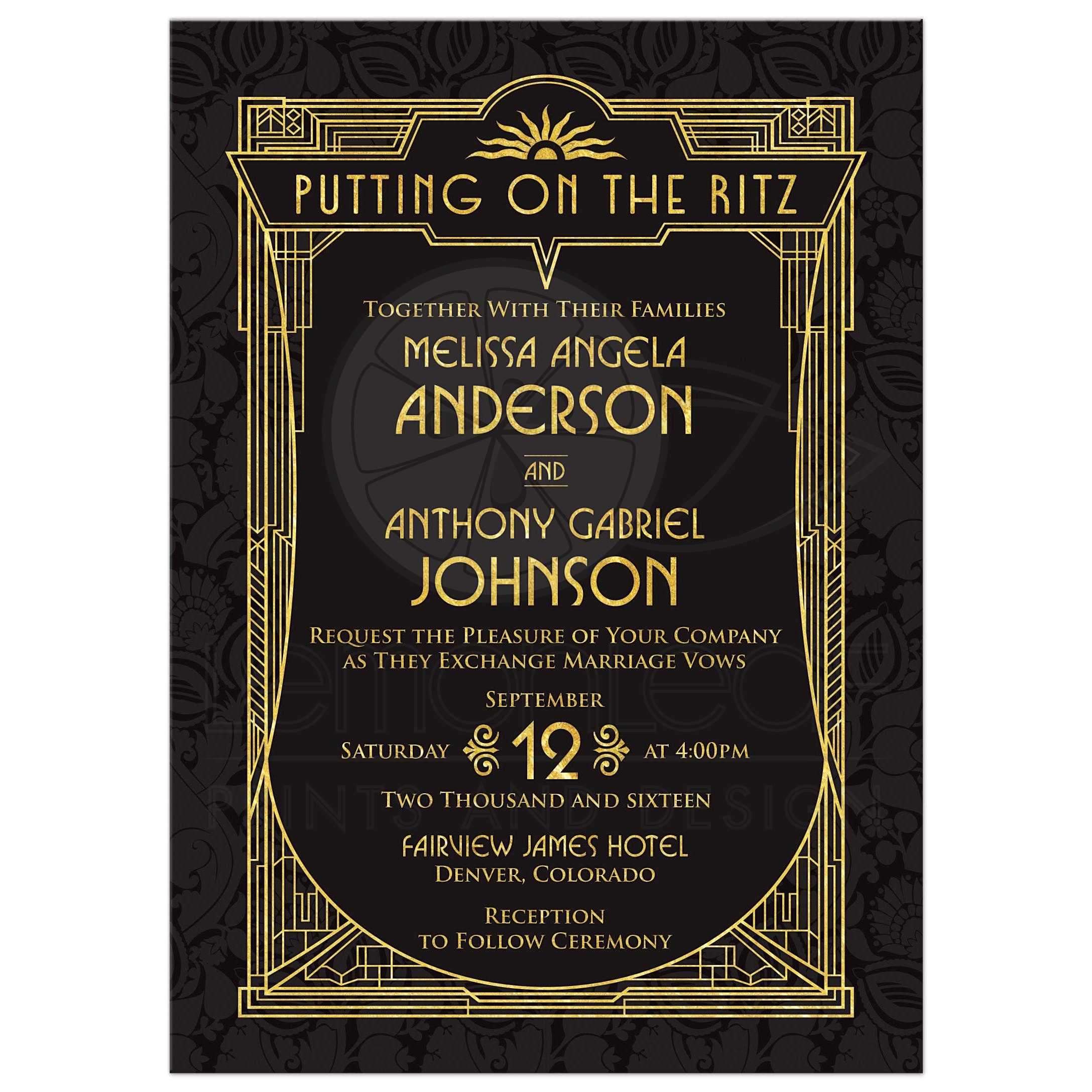 Black And Gold Roaring 20s Great Gatsby Art Deco Wedding Invitation Front  ...