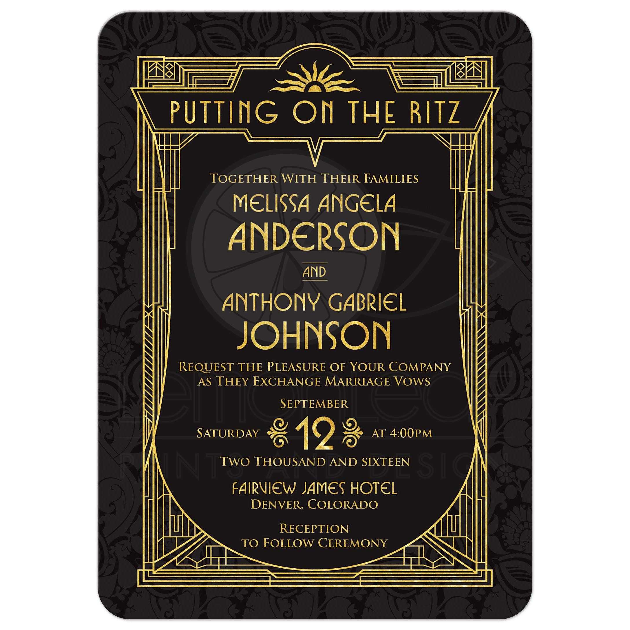Wedding Invitation Book Style: Art Deco Wedding Invitation